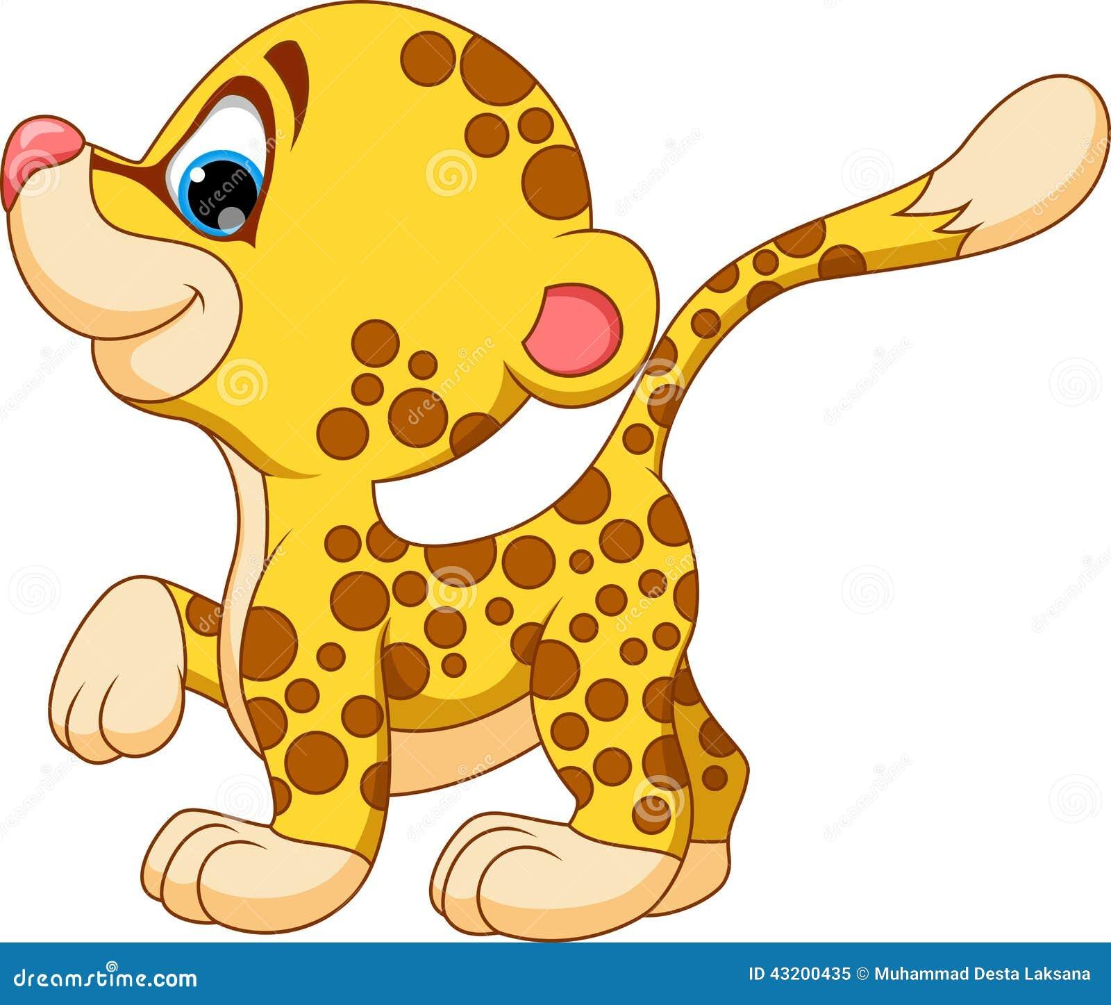 Cute Baby Cheetah Cartoon Stock Illustration Image 43200435