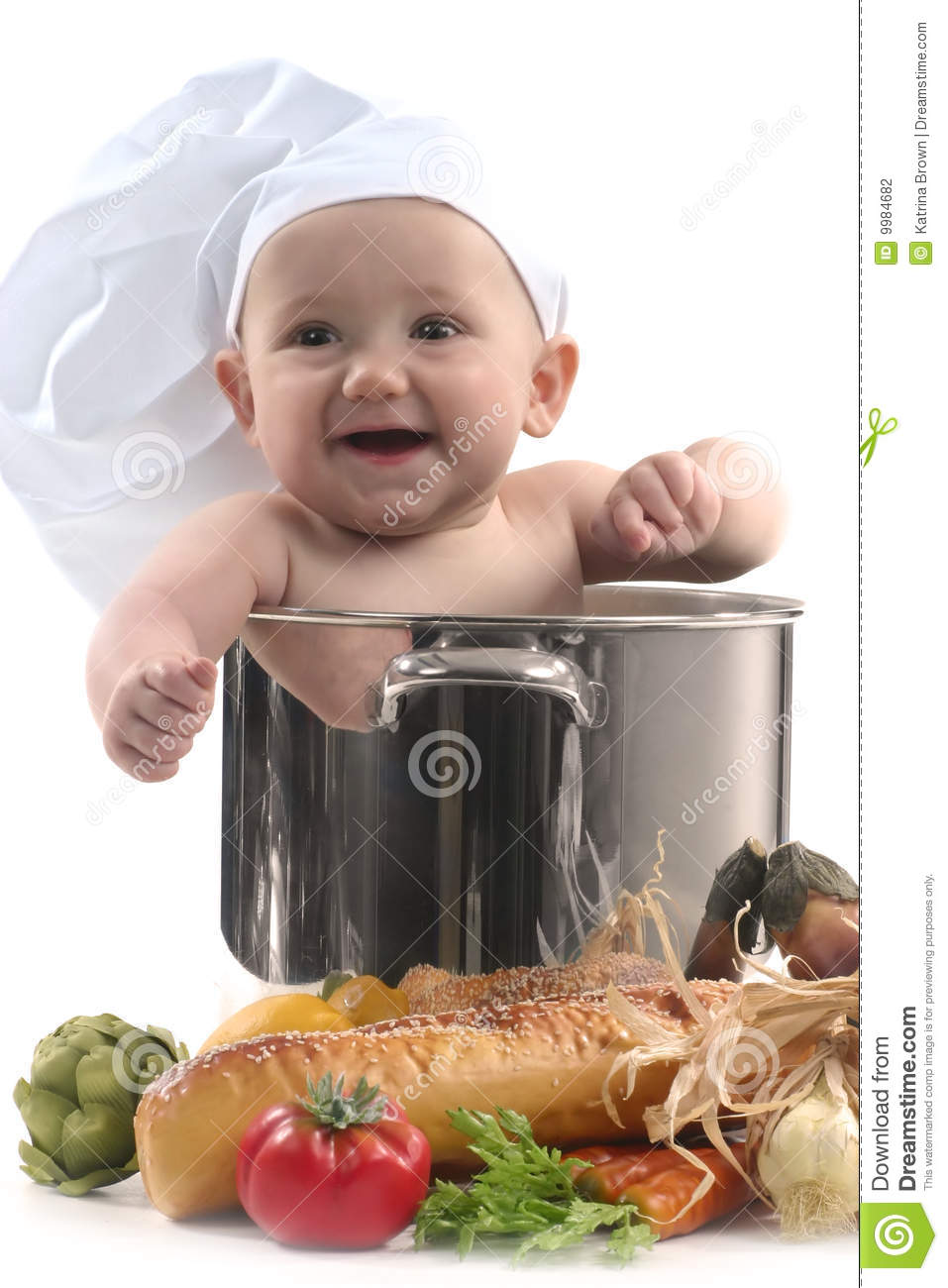Cute Baby Chef Pot Smiling Photography