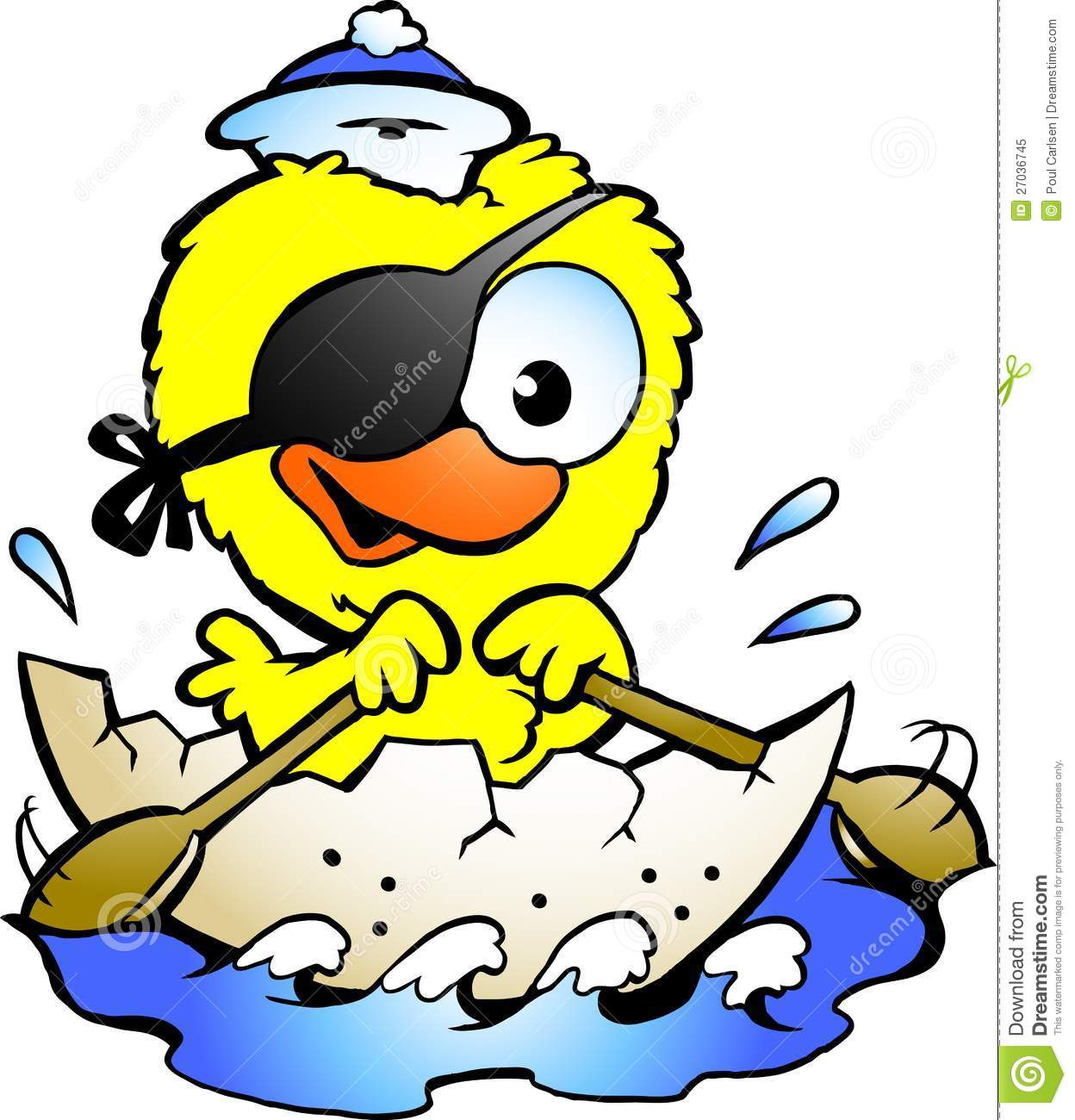 Hand-drawn Vector illustration of an cute baby chicken rowing a boat.