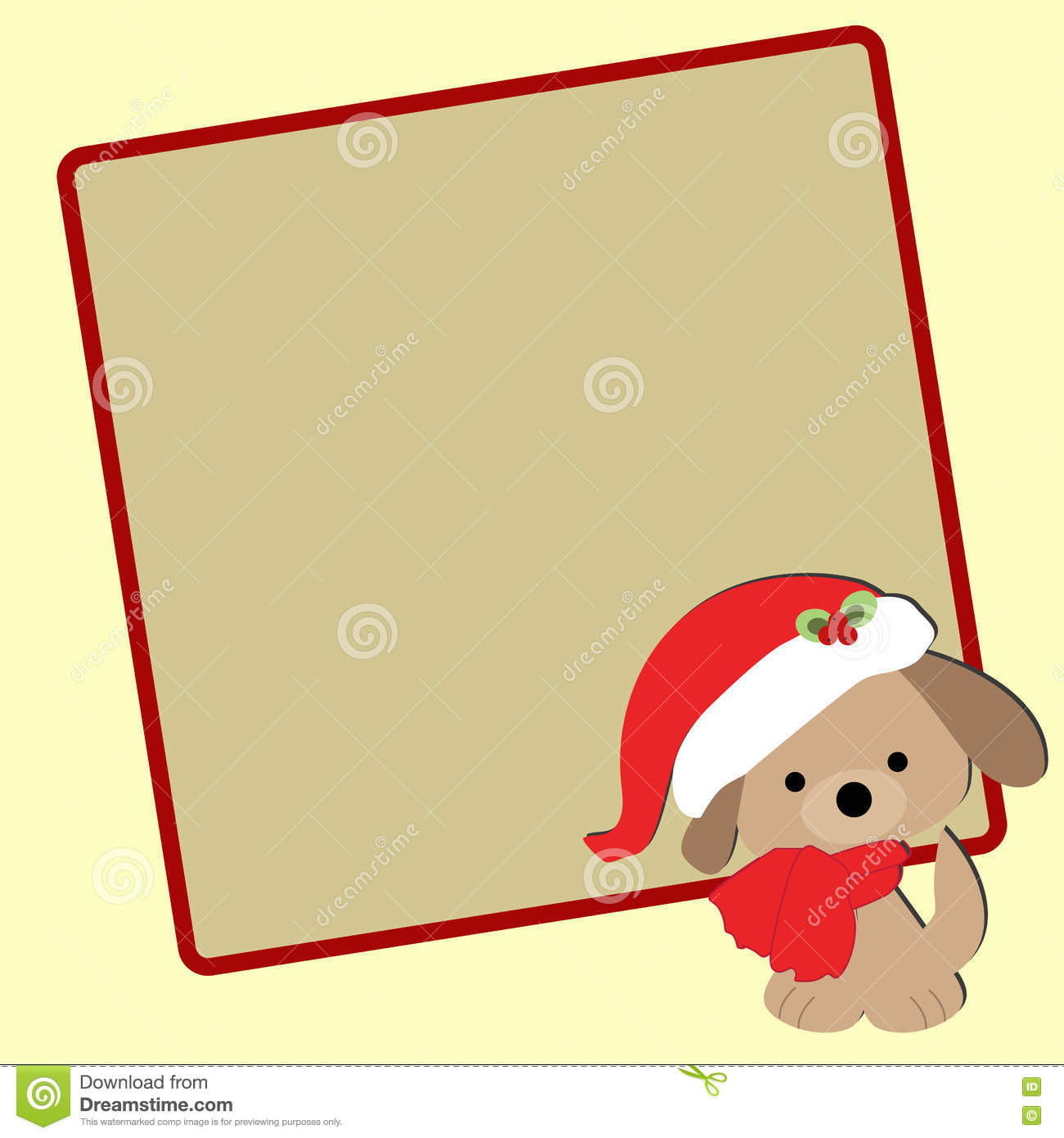 Cute Baby Christmas Frame With A Puppy In A Santa Hat. Stock Vector ...