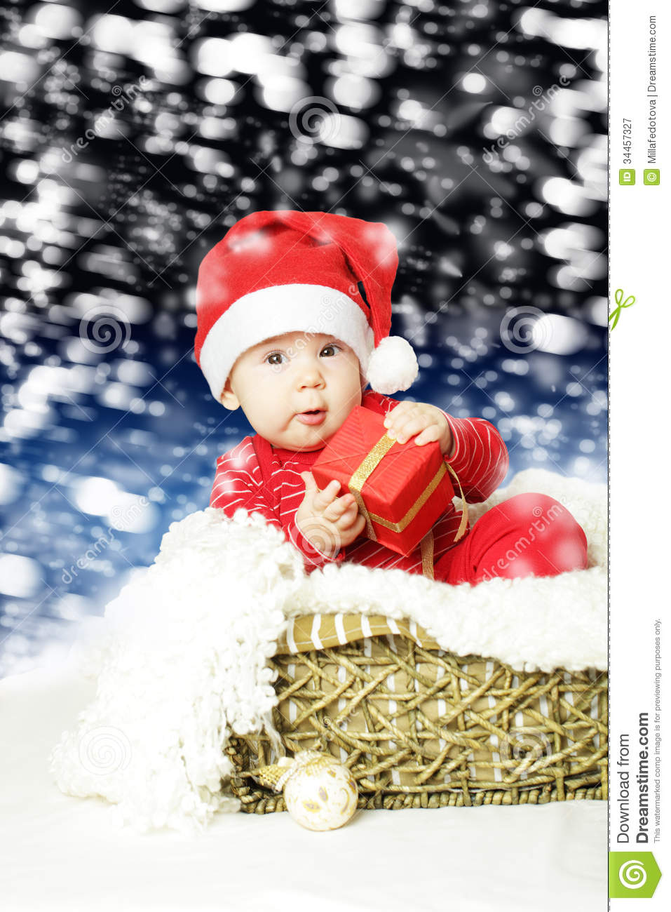Cute Baby With Christmas Gift Stock Image Image Of Night