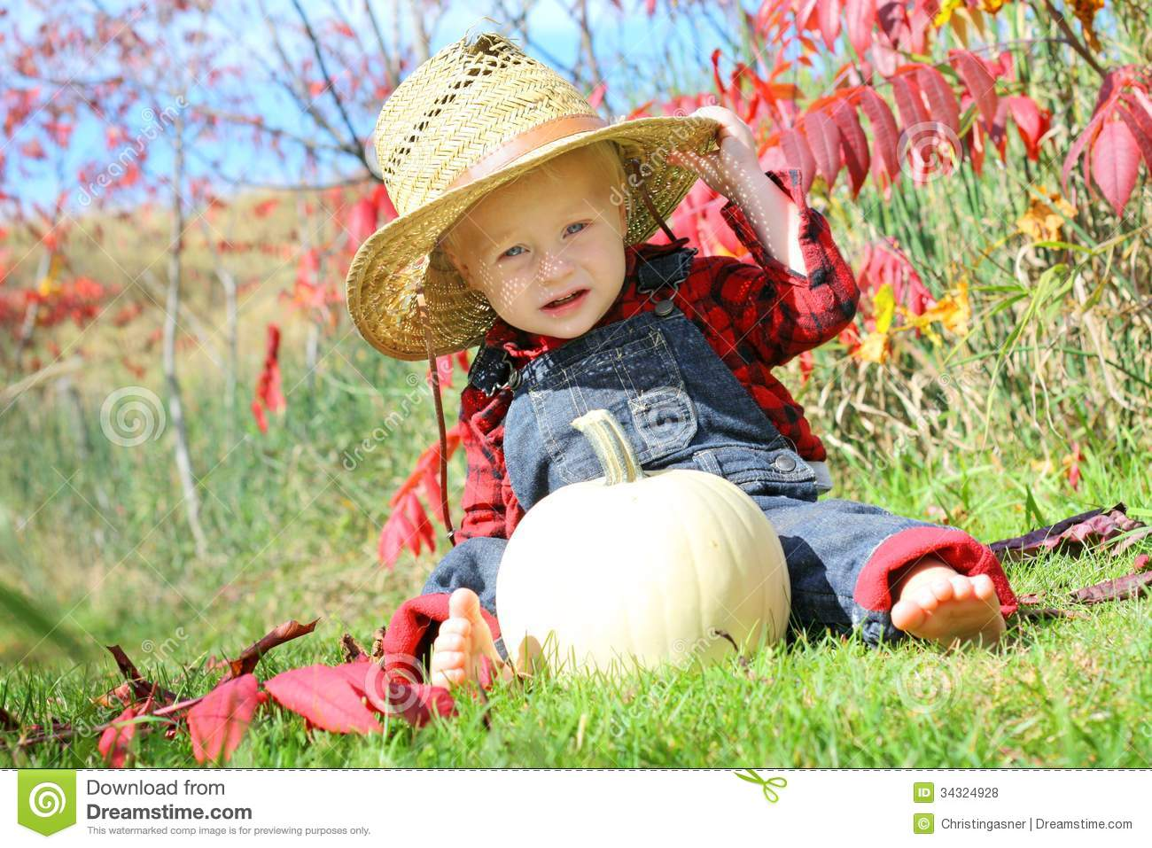 Cute Baby Country Boy In Autumn Stock Photo Image 34324928