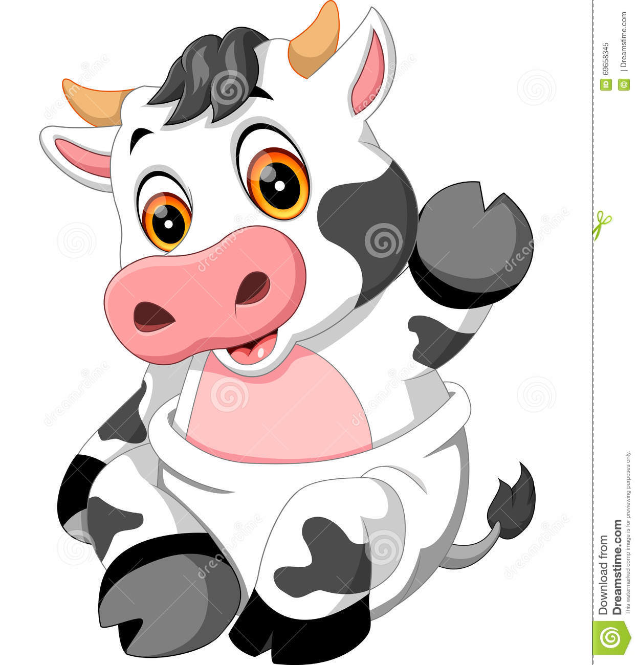 cute baby cow cartoon stock vector image 69658345
