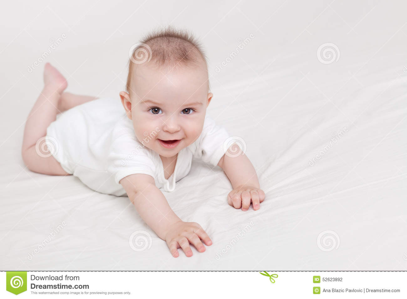 Cute Baby Crawling Stock Photo Image Of Caucasian Crawl 52623892