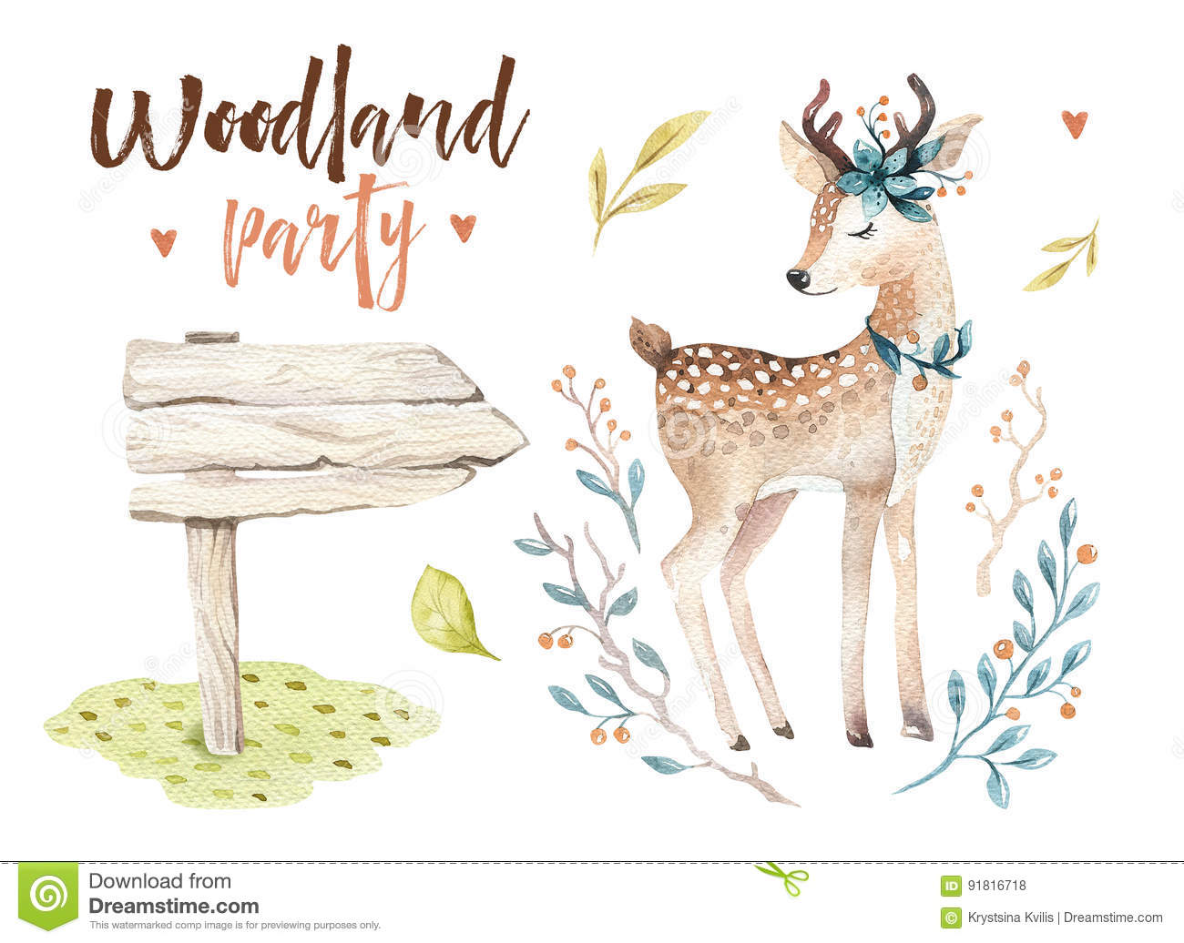 8a79aaf73 Cute baby deer animal nursery isolated illustration for children. Watercolor  boho forest drawing, watercolour