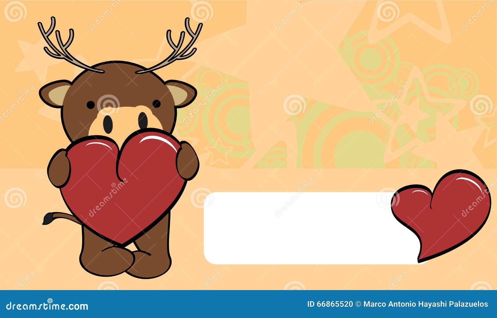 Cute Baby Deer Cartoon Valentine Love Card Stock Vector ...