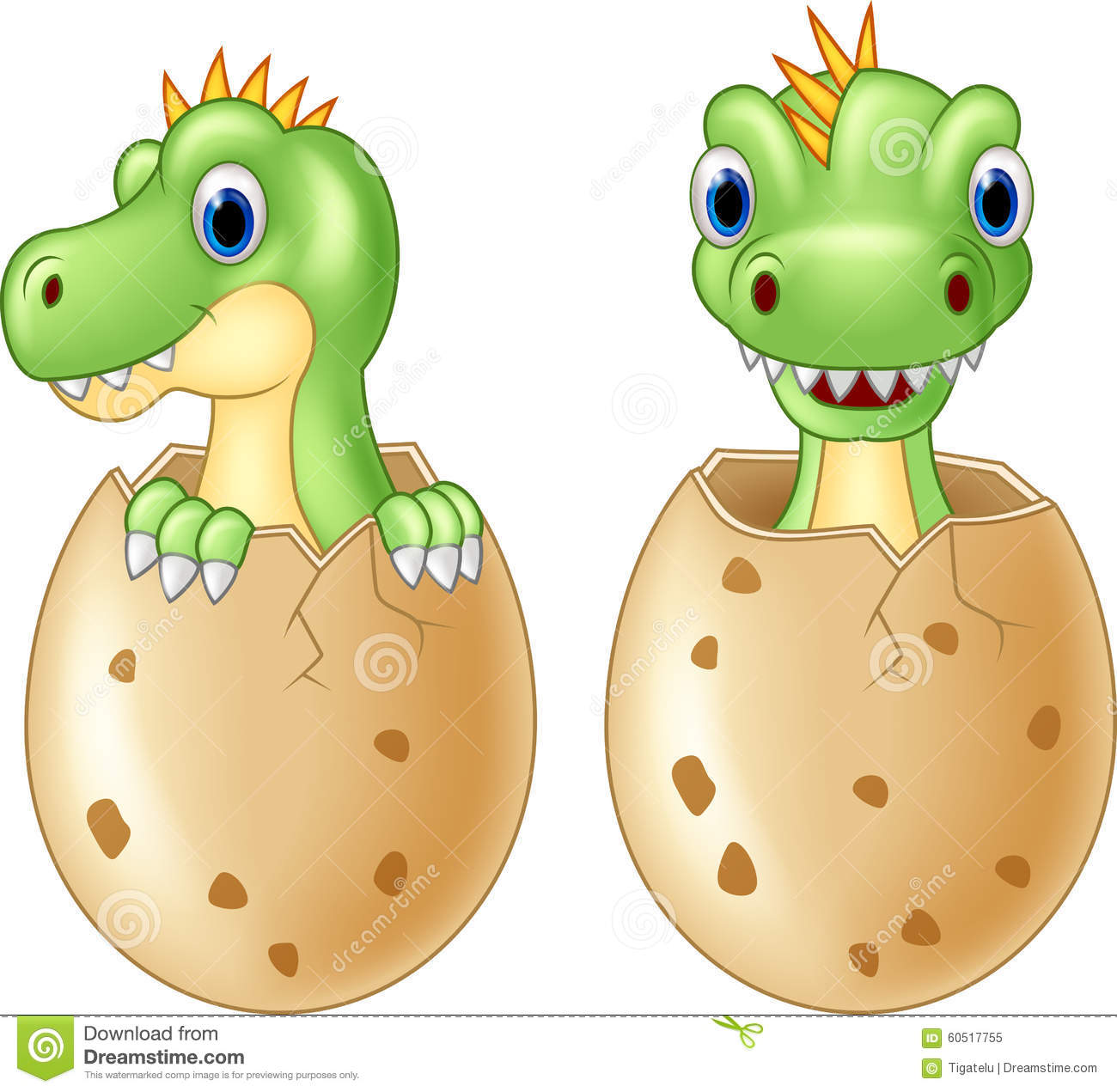 Cute Baby Dinosaur Hatching Stock Illustration