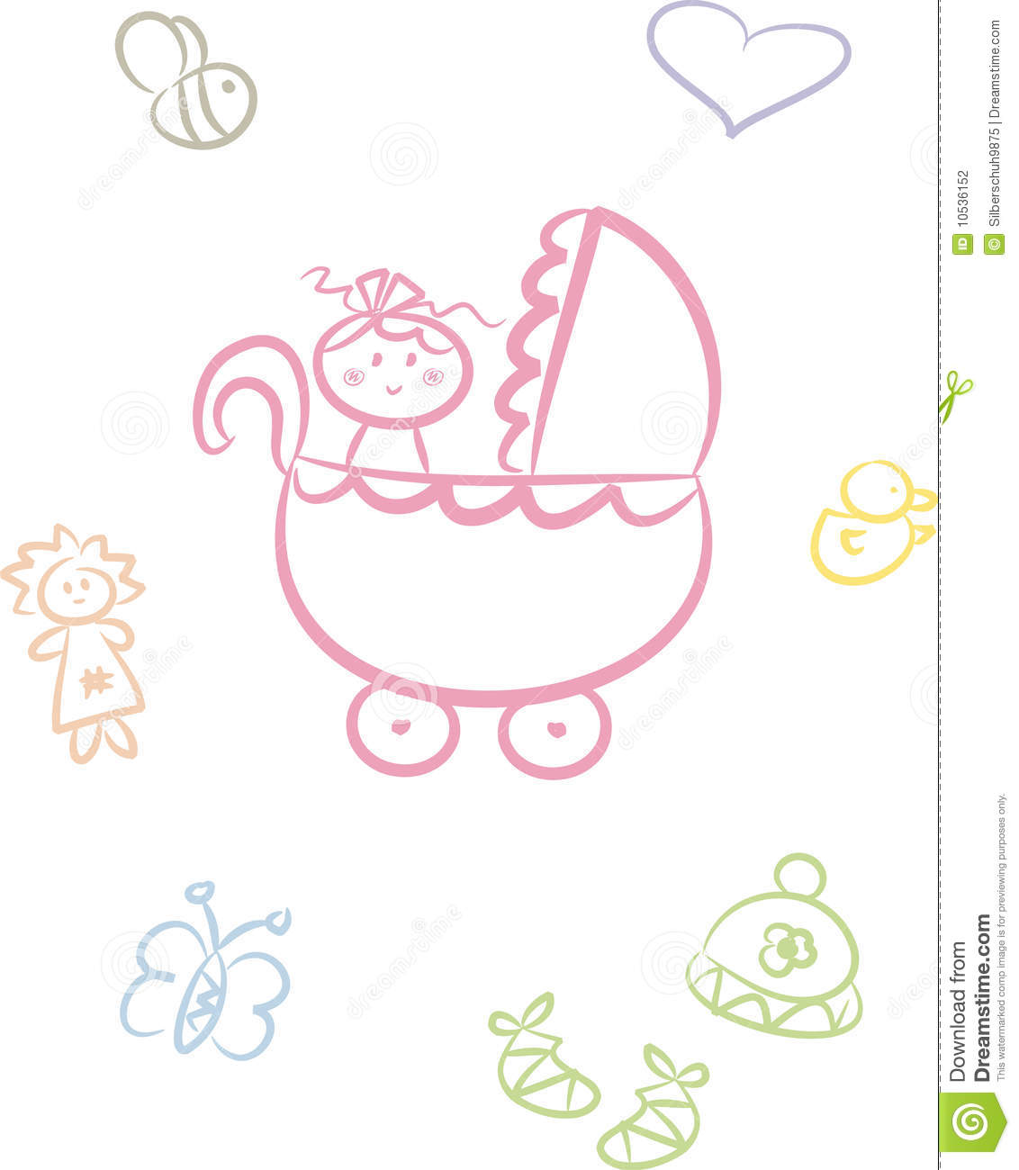 Cute Baby Doodle Set Girl Stock Vector Illustration Of