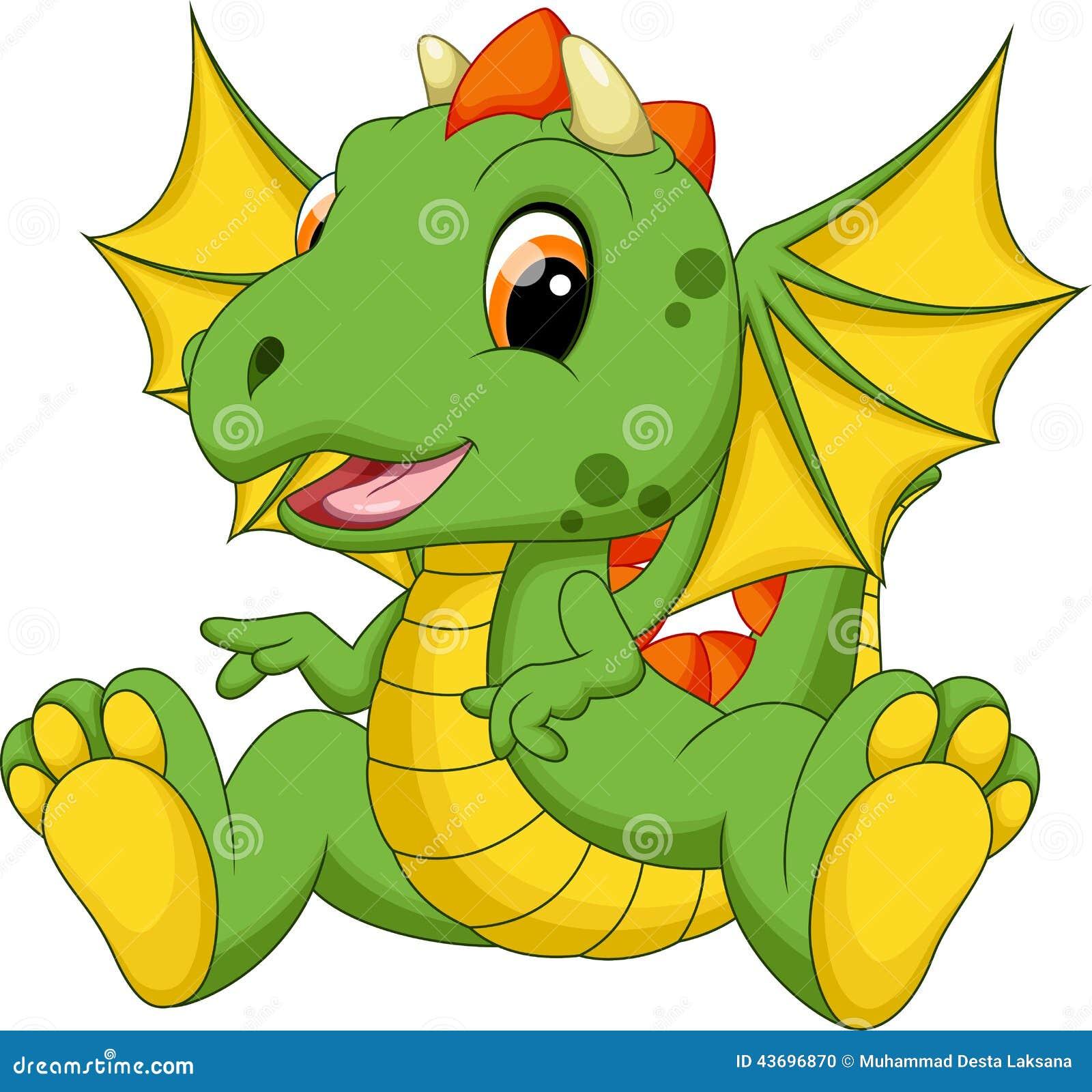 Cute Baby Dragon Cartoon Stock Illustration Image