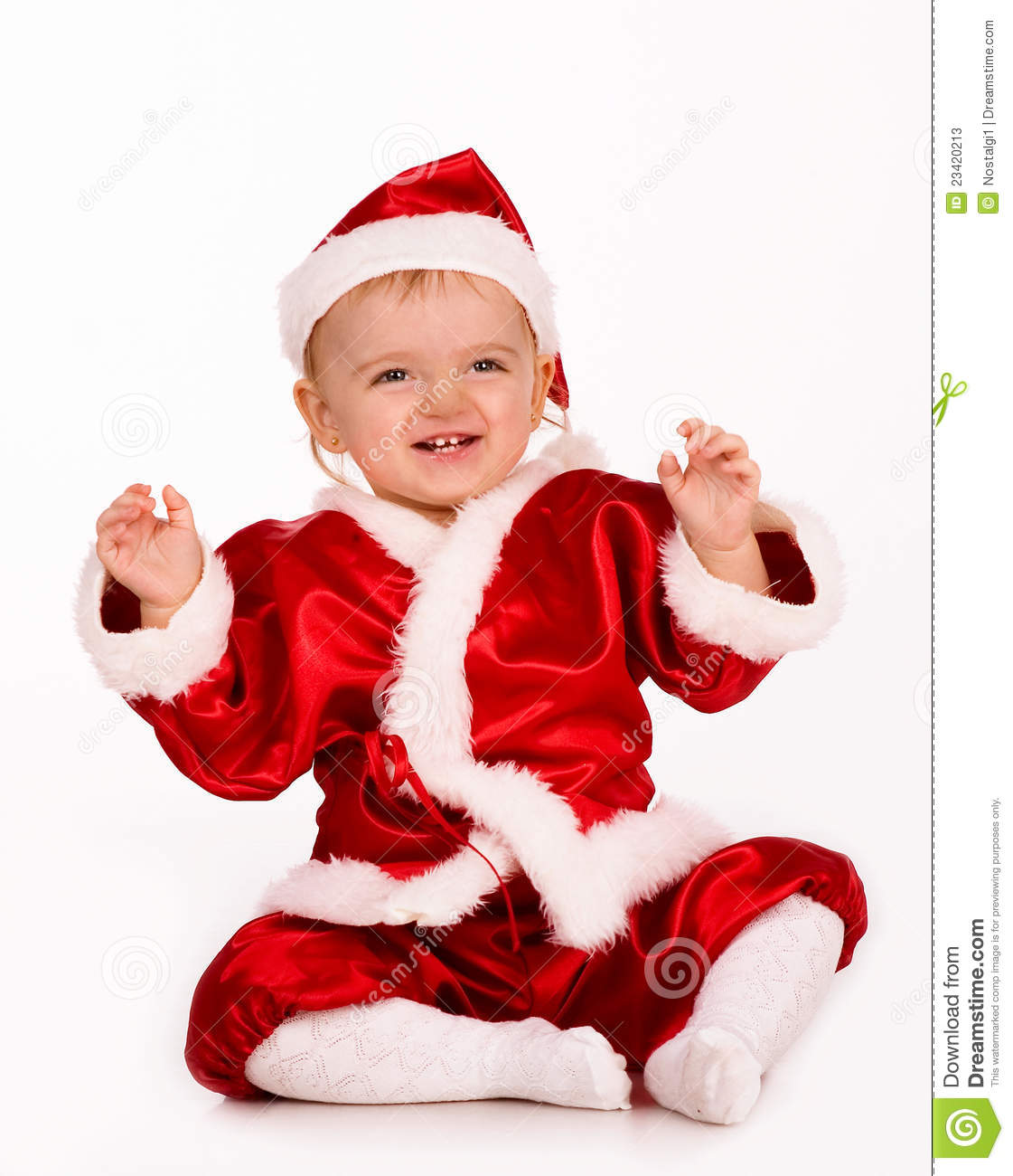 Cute baby dressed as santa claus stock image