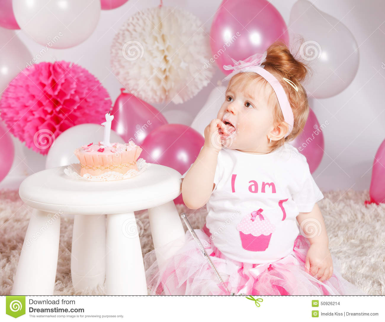 Cute Baby Eating The Birthday Cake Stock Photo Image 50623186