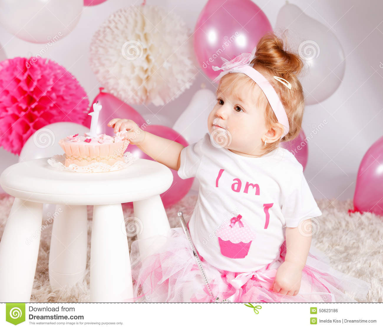 Cute Baby Eating The Birthday Cake Stock Photo - Image ...