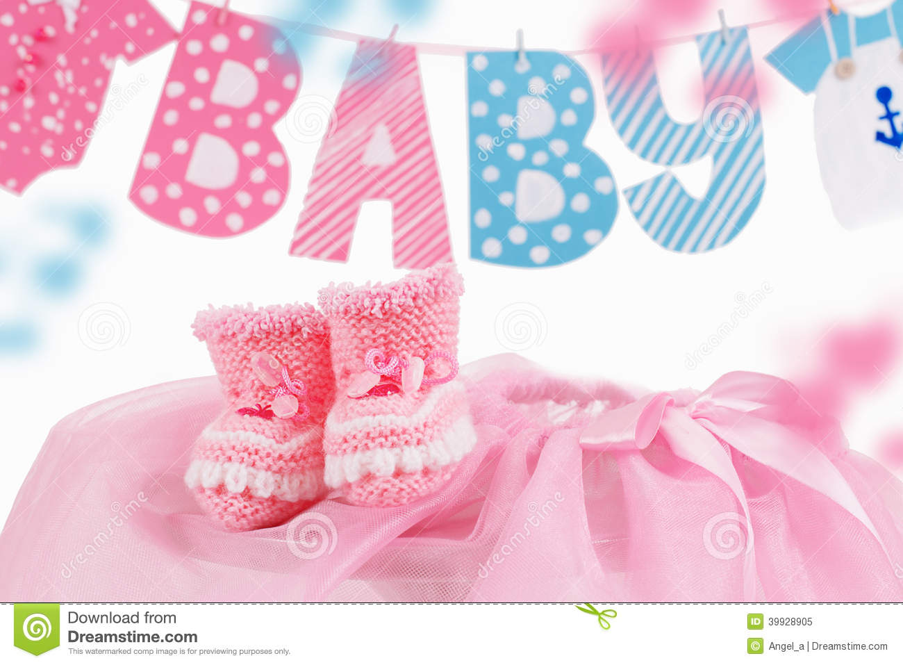 Cute Baby Element With Word Baby And Pink Bootees Stock Image