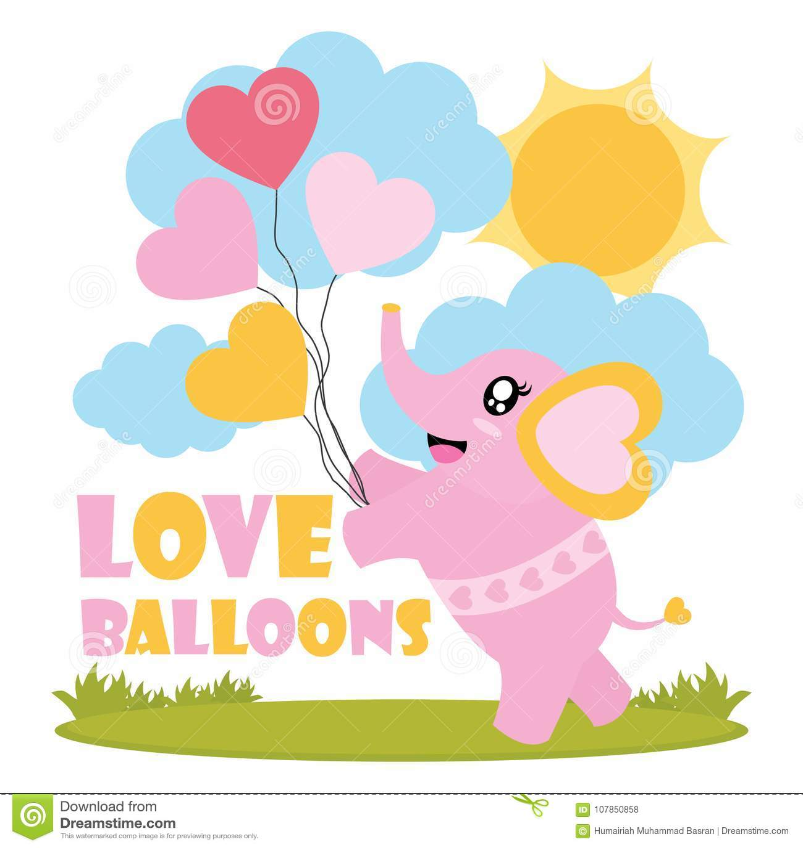 Cute Baby Elephant Brings Love Balloons Cartoon Illustration For