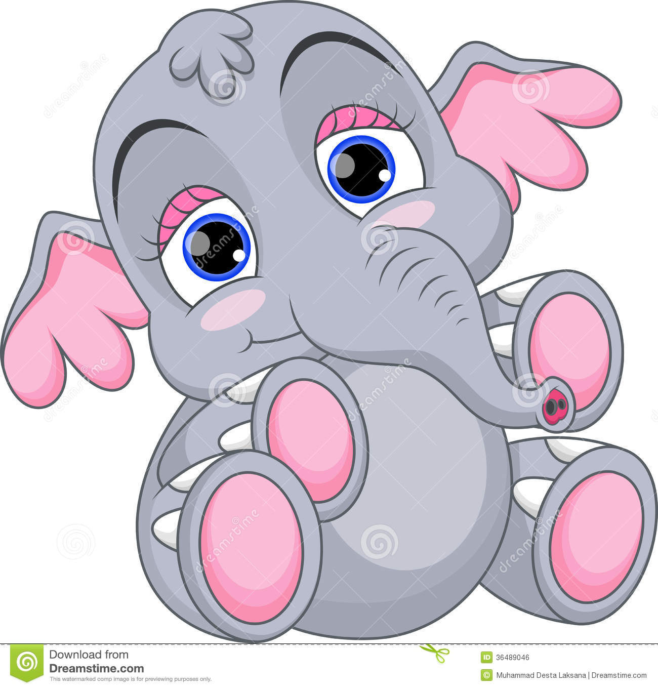 Baby Shower With Cute Cartoon Elephants Stock Vector - Image: 74748015
