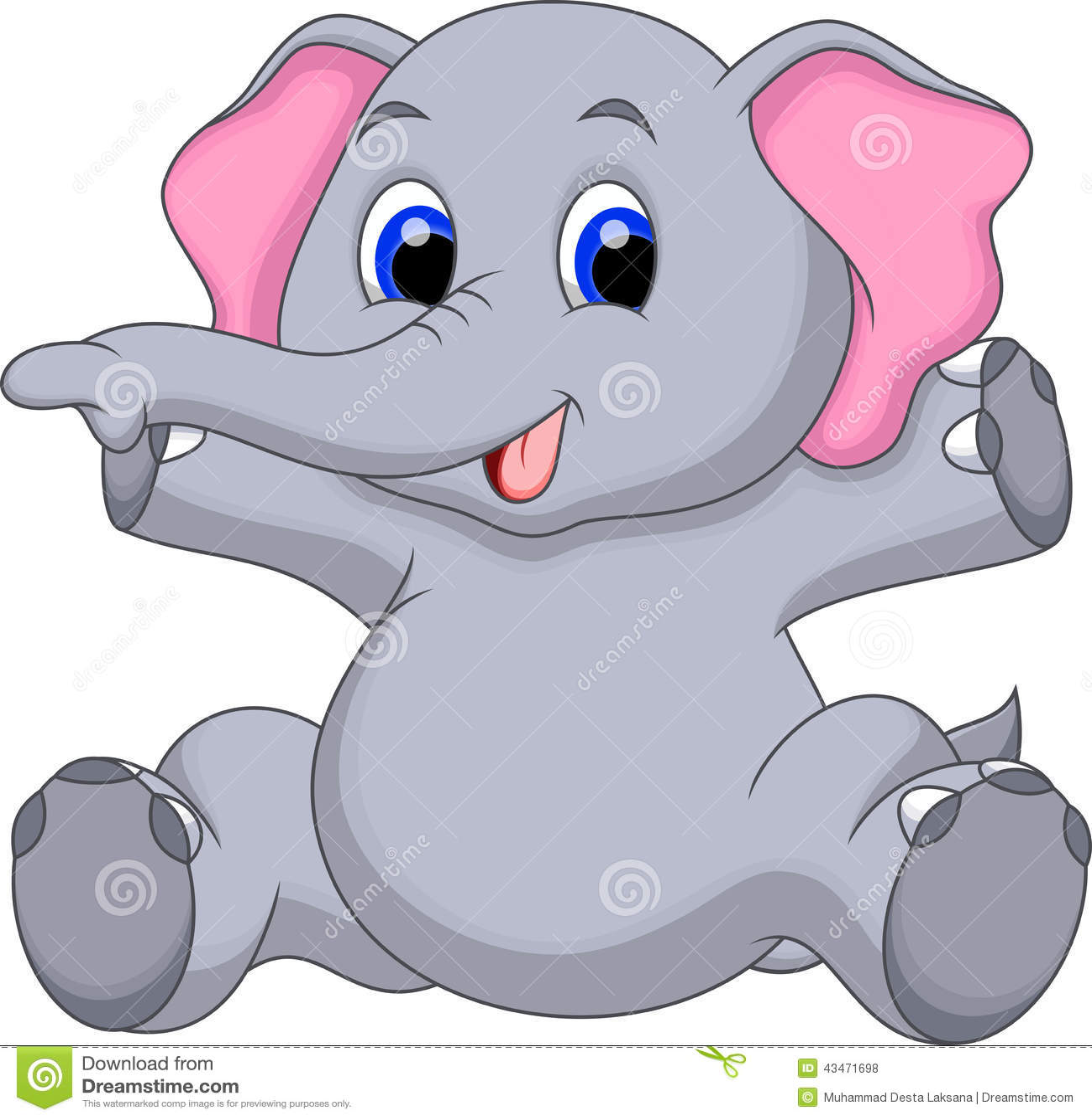 cute baby elephant cartoon stock illustration image 43471698
