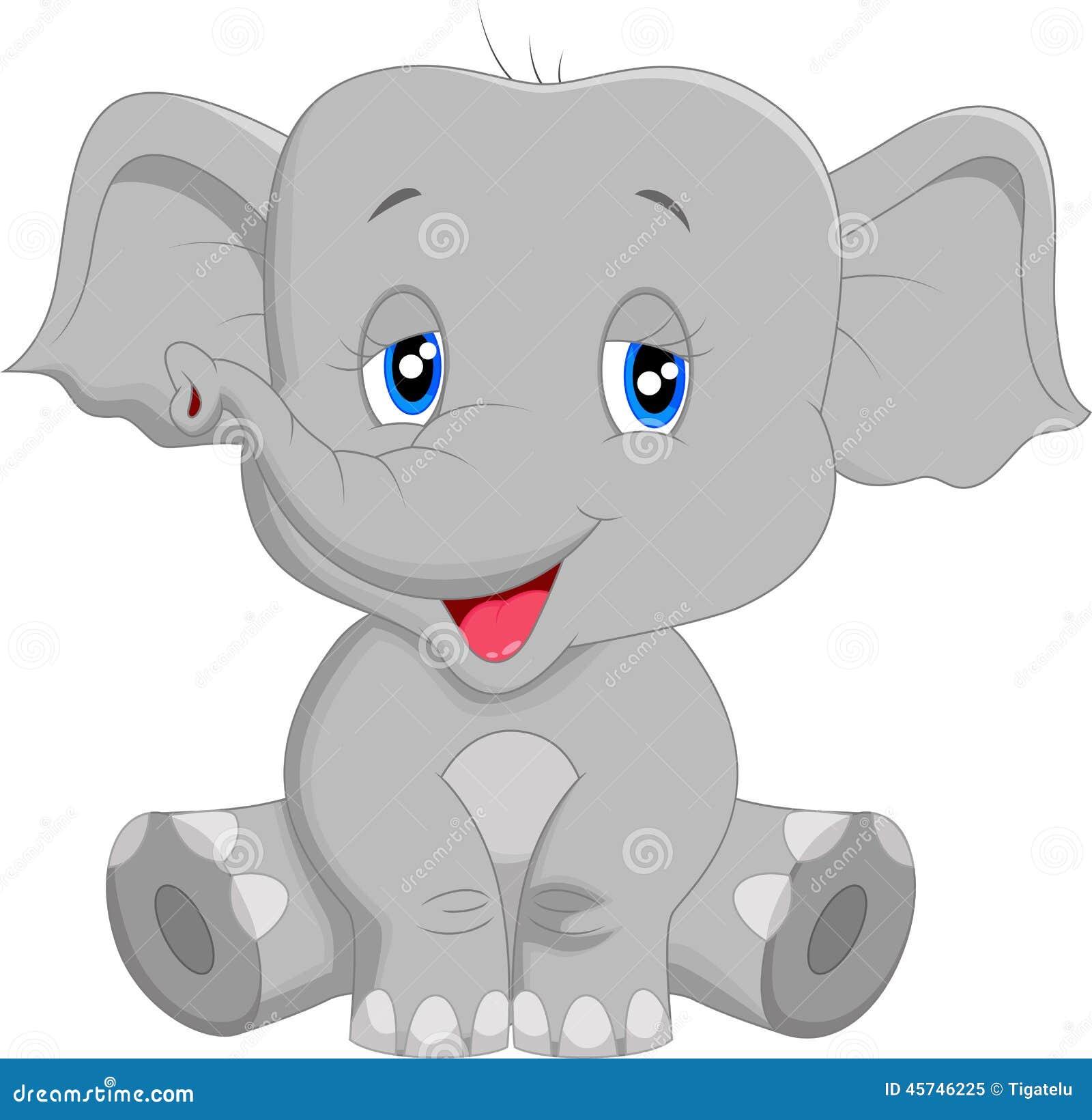 cute baby elephant cartoon stock vector image 45746225