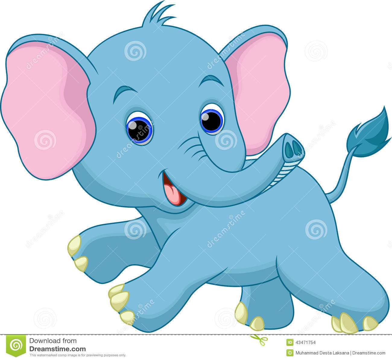 Cute Baby Elephant Cartoon Stock Illustration Image