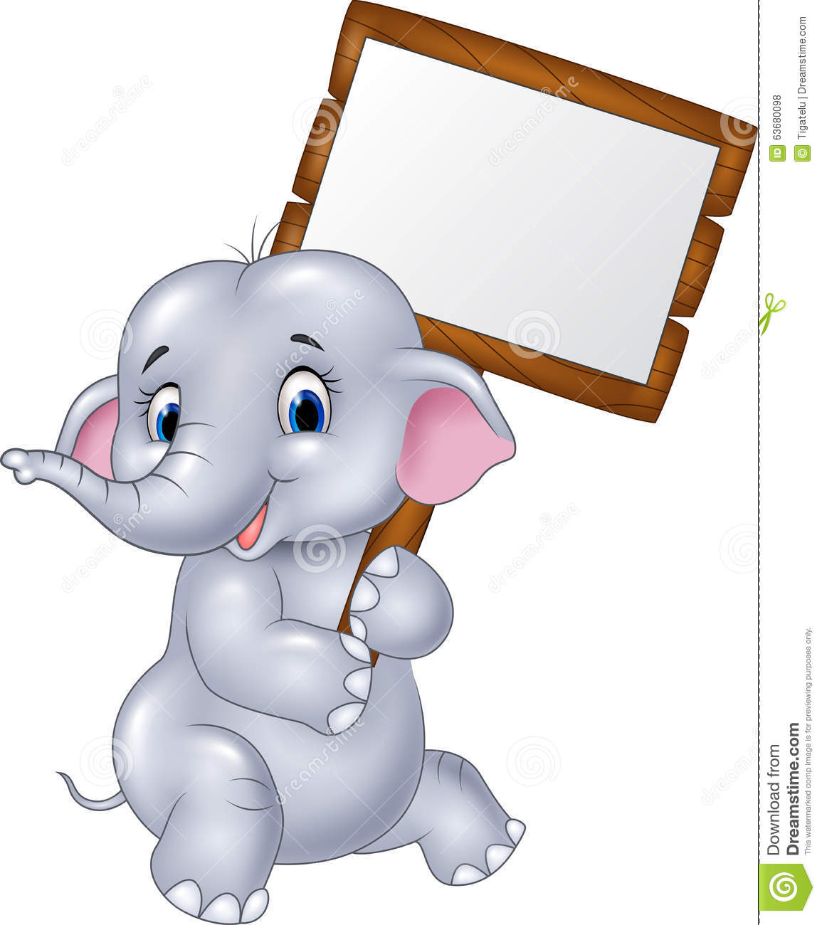 Cute Baby Elephant Holding Blank Sign Stock Vector - Image ...