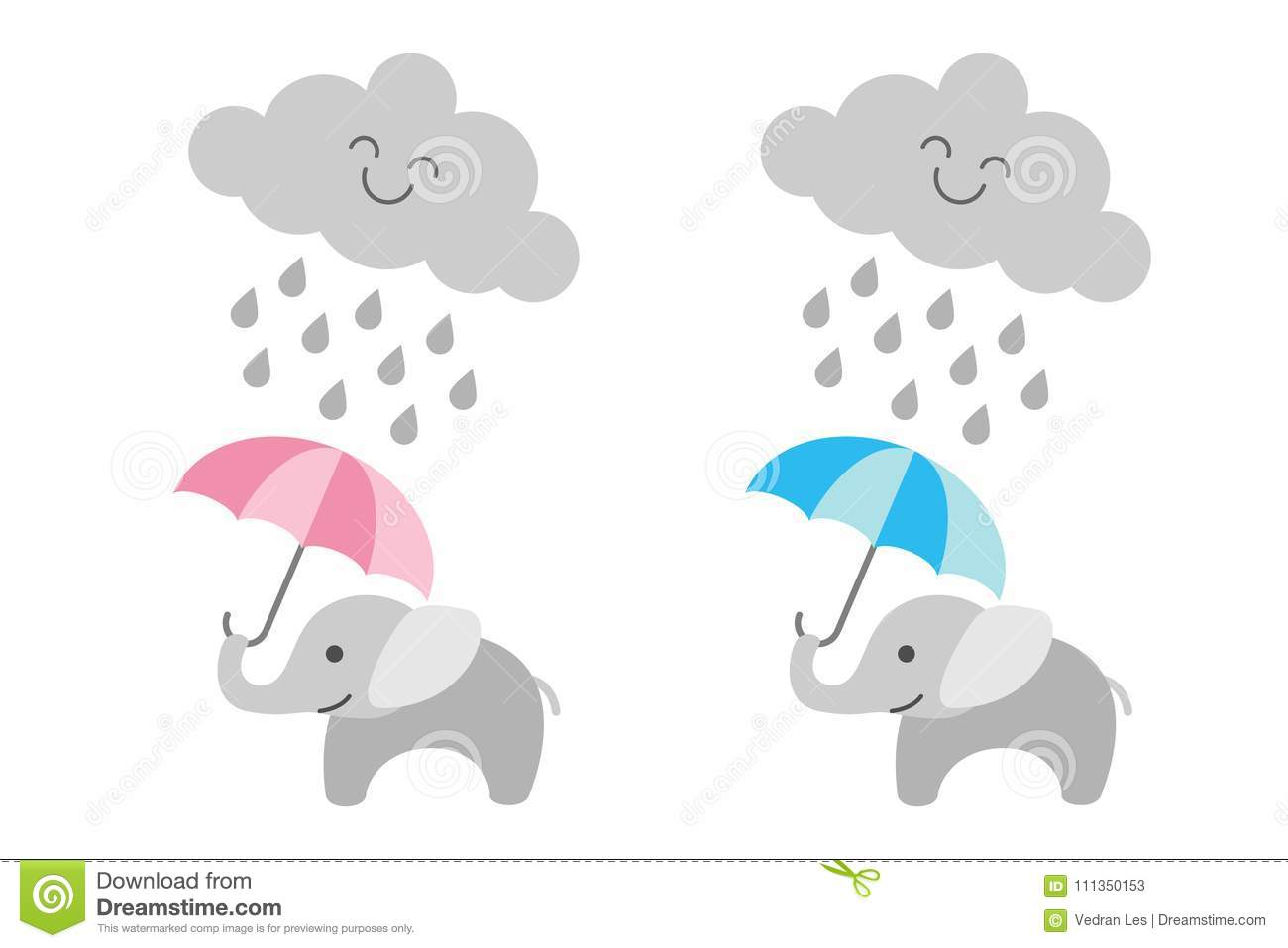 Cute baby elephant under rainy cloud - girl and boy