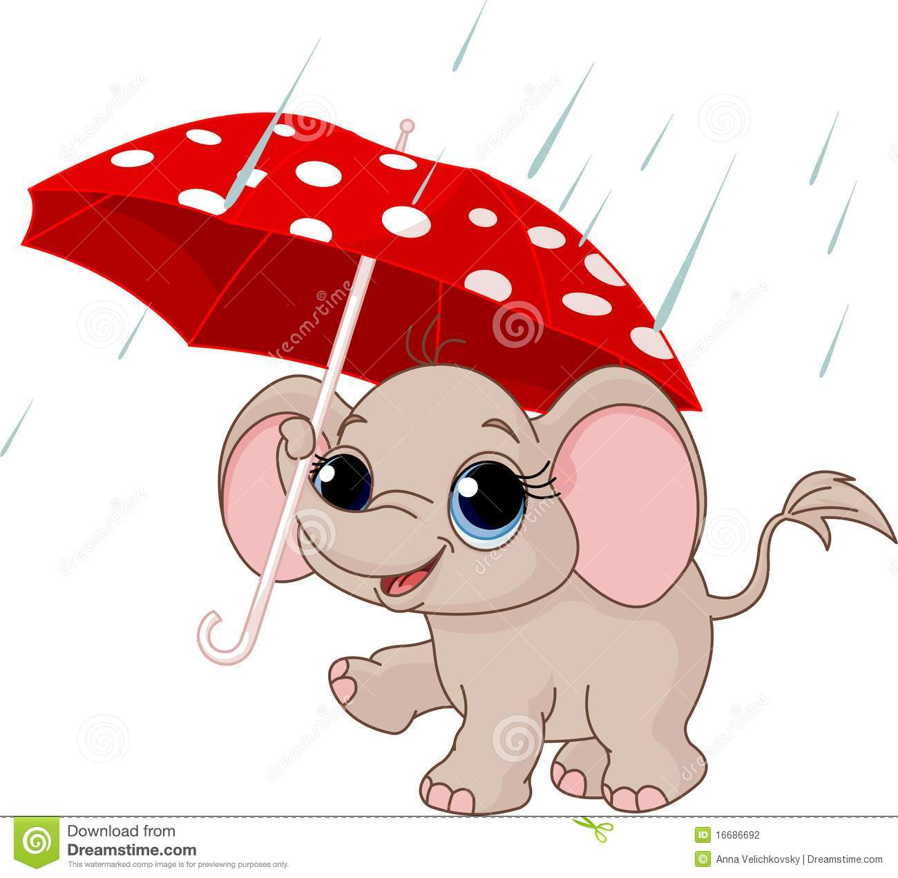 Cute Baby Elephant Under Umbrella Stock Photography - Image: 16686692