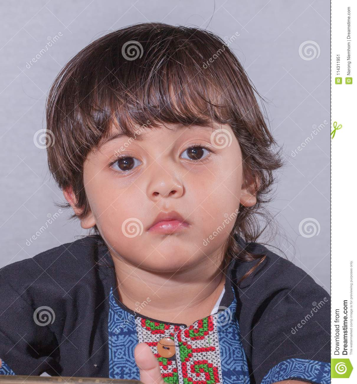 cute baby face with big eyes. stock image - image of cute