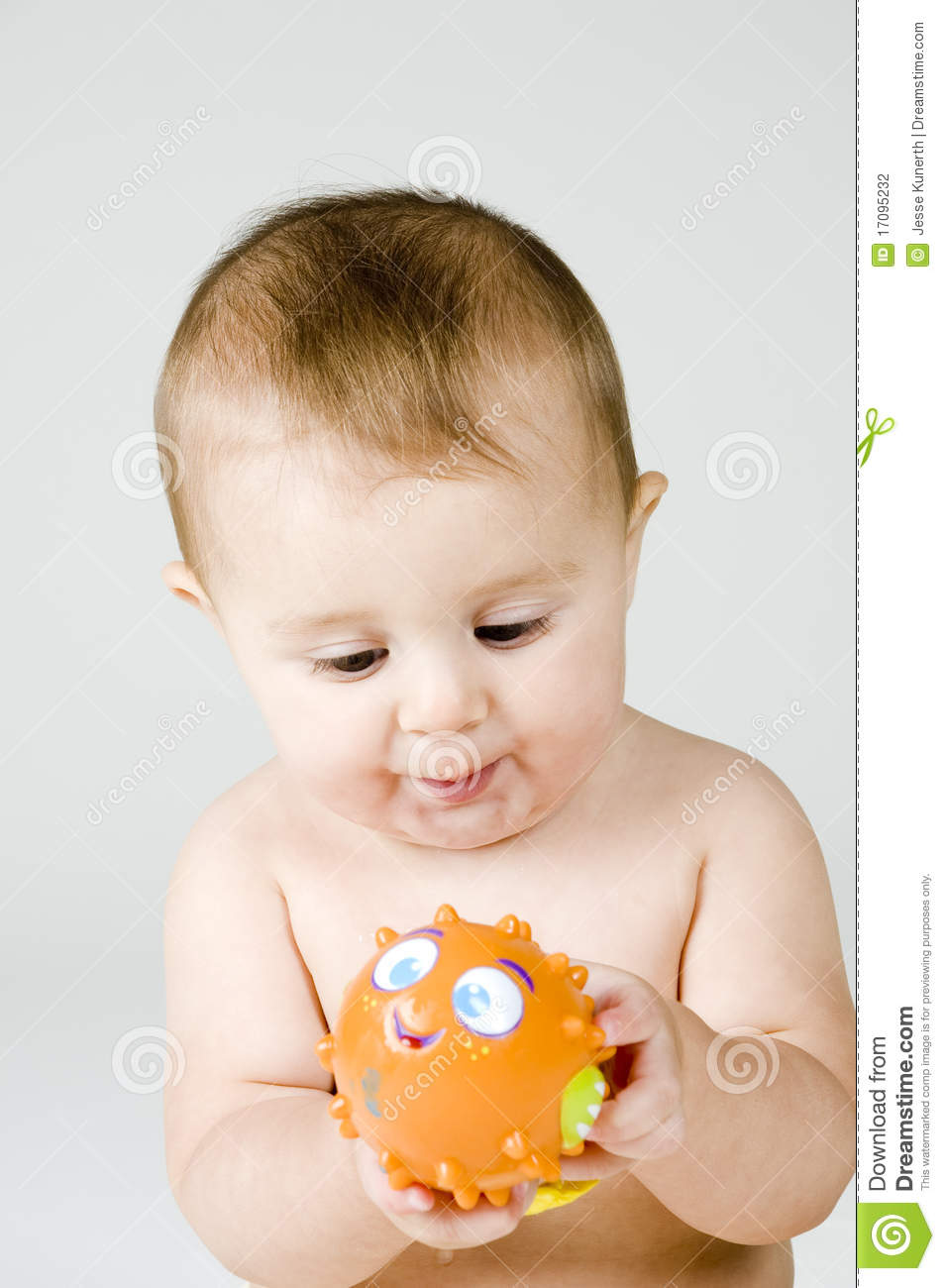 Cute Baby With Fish Toy Stock Photo Image Of Playing