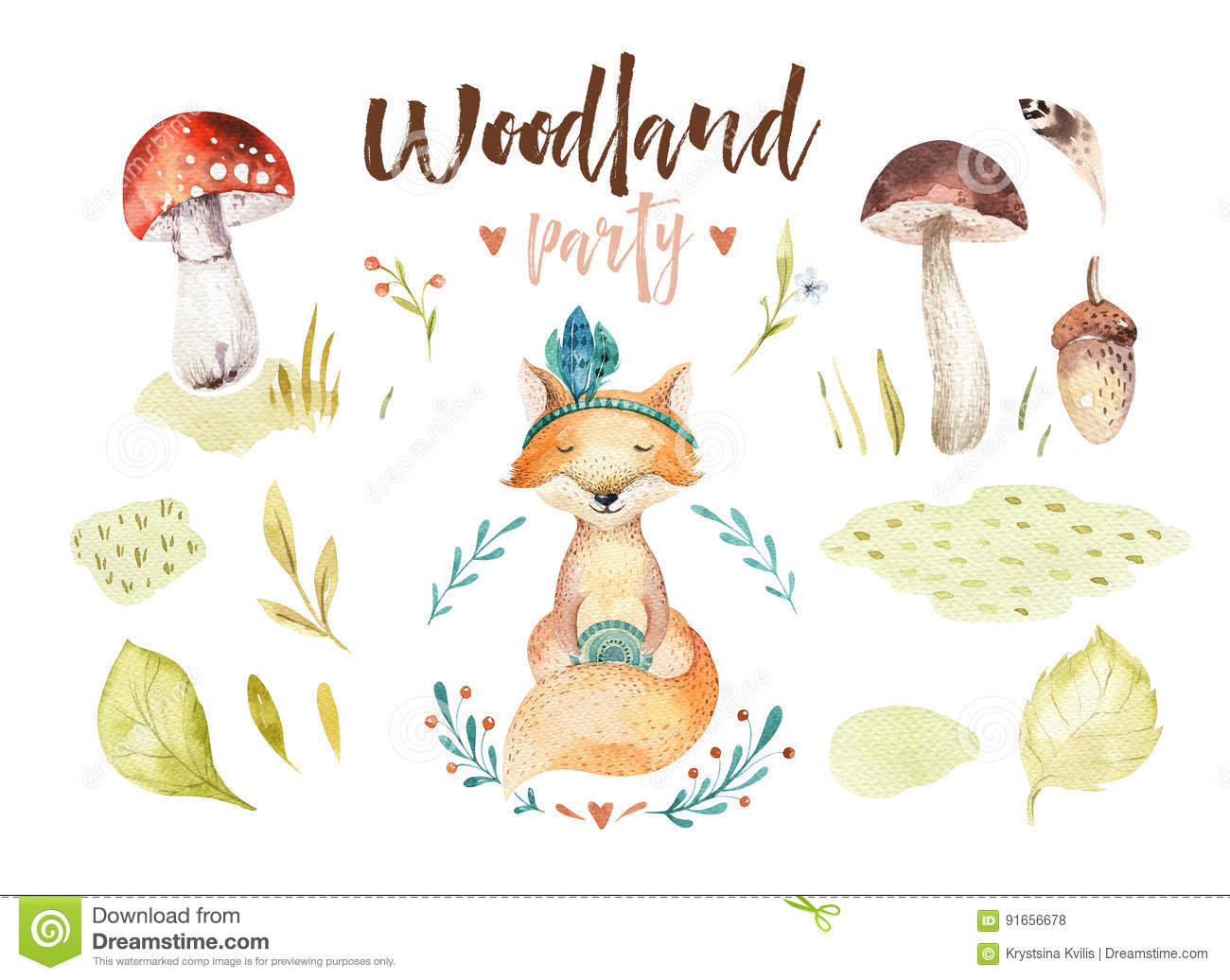 Cute baby fox animal nursery isolated illustration for children. Watercolor boho forest drawing, watercolour woodland