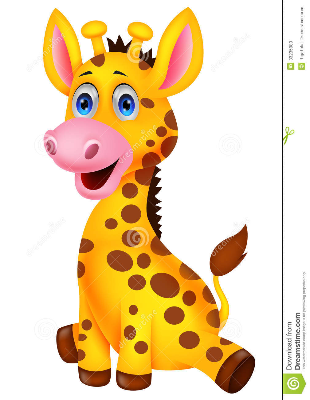 Cute Baby Giraffe Cartoon Stock Photo - Image: 33235980