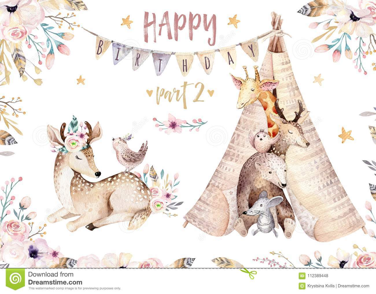 Cute baby giraffe, deer animal nursery mouse and bear isolated illustration for children. Watercolor boho forest cartoon