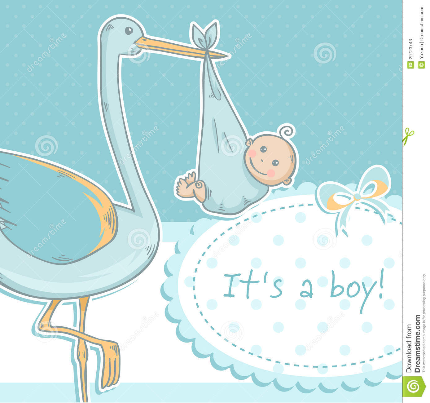 Cute Baby Girl Announcement Card With Stork And Ch Photos – Stork Birth Announcement