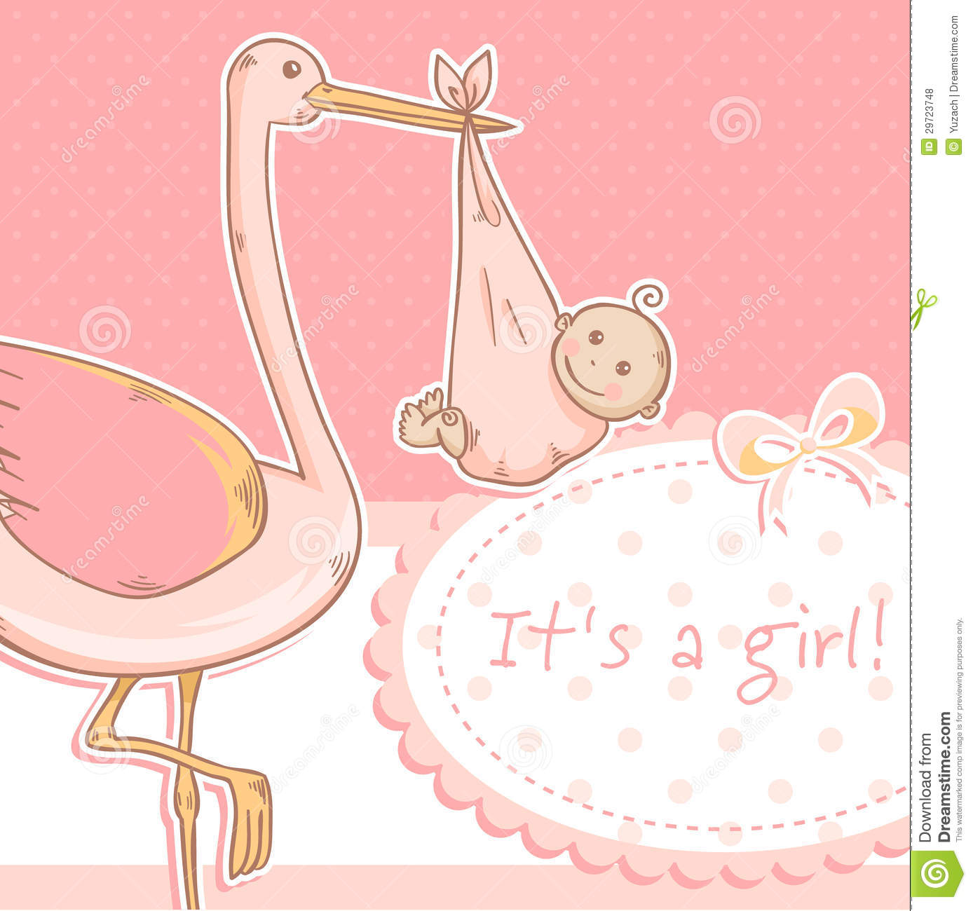 Cute Baby Girl Announcement Card With Stork And Ch Royalty Free – Baby Announcement Cards Free