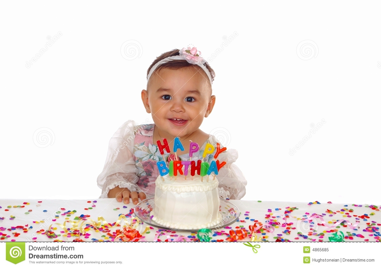 Cute Baby Girl And Birthday Cake Royalty Free Stock Photo ...