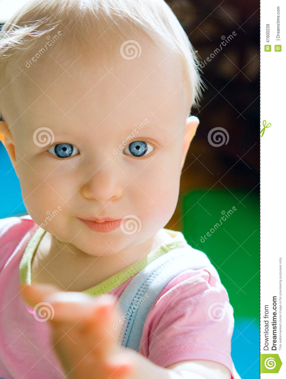 cute baby girl with blue eyes stock image - image of caucasian, life