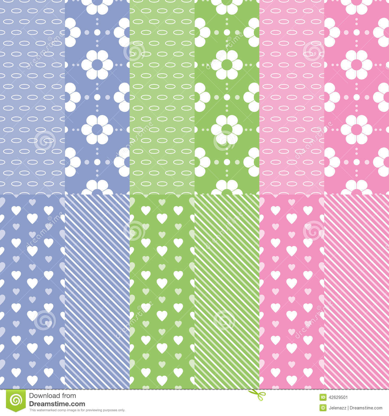 Cute Baby Girl And Boy Pattern Collection Stock Vector