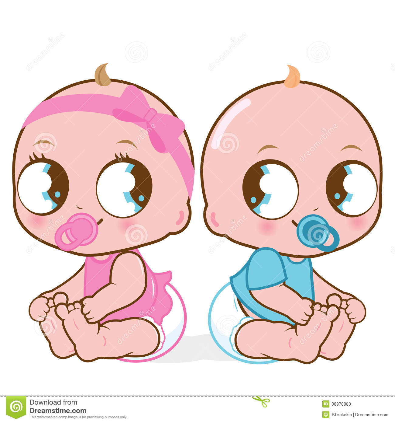 Cute cartoon boy and girl