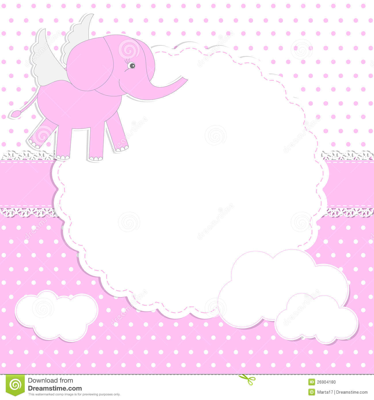 Cute Baby Girl Card Stock Vector Illustration Of Cloud