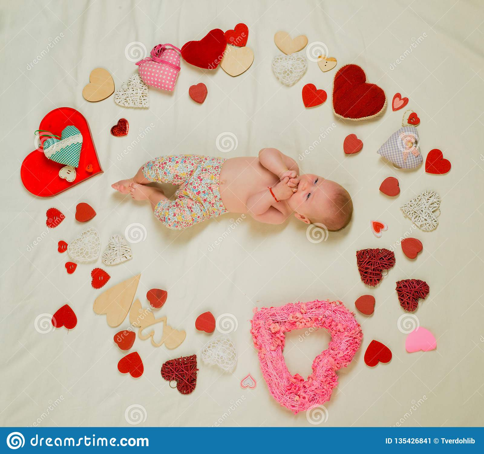 Cute Baby Girl Childhood Happiness Valentines Day Love Portrait
