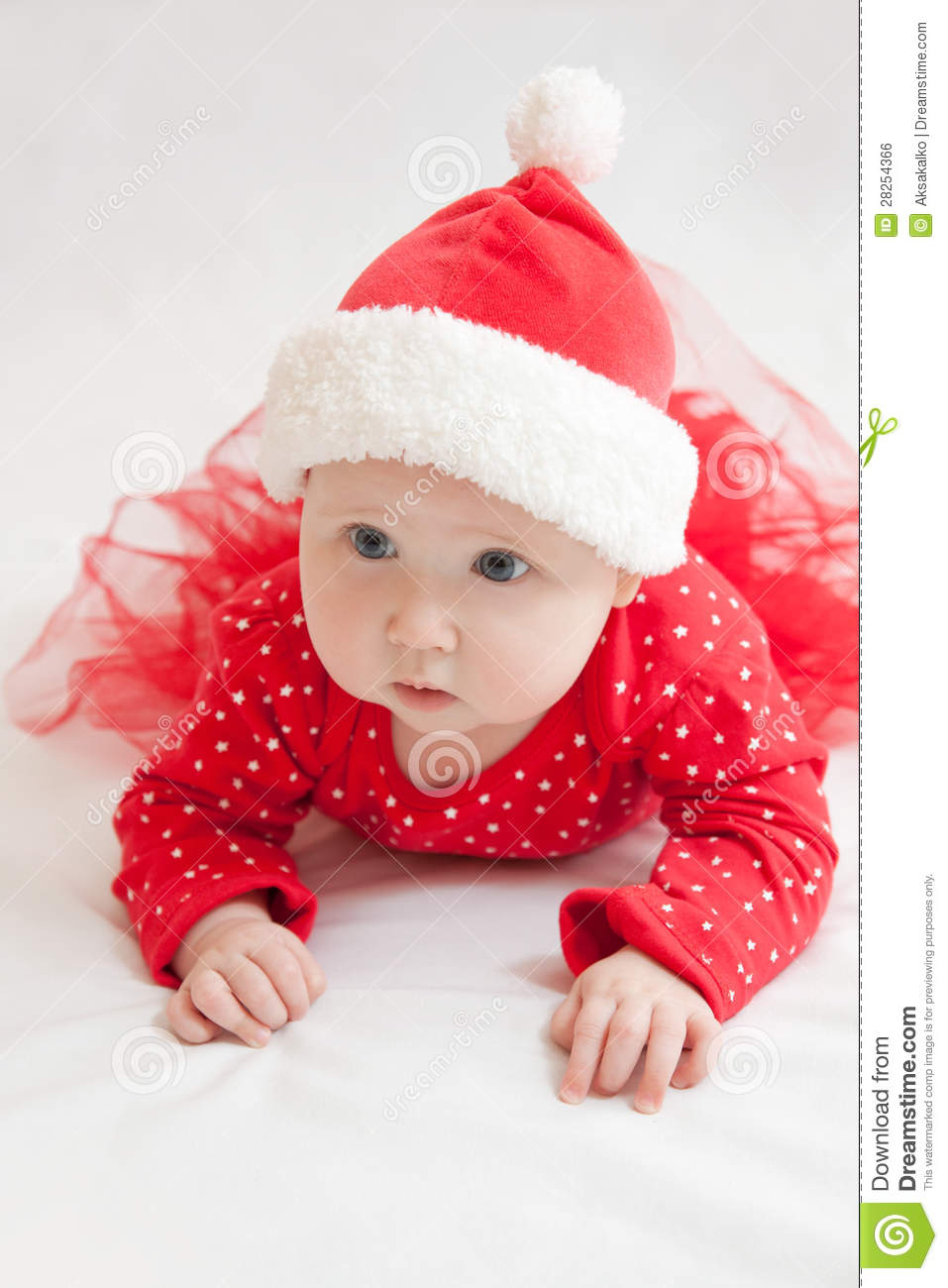 d2f81bad4a Cute Baby Girl In Christmas Hat Stock Photo - Image of season