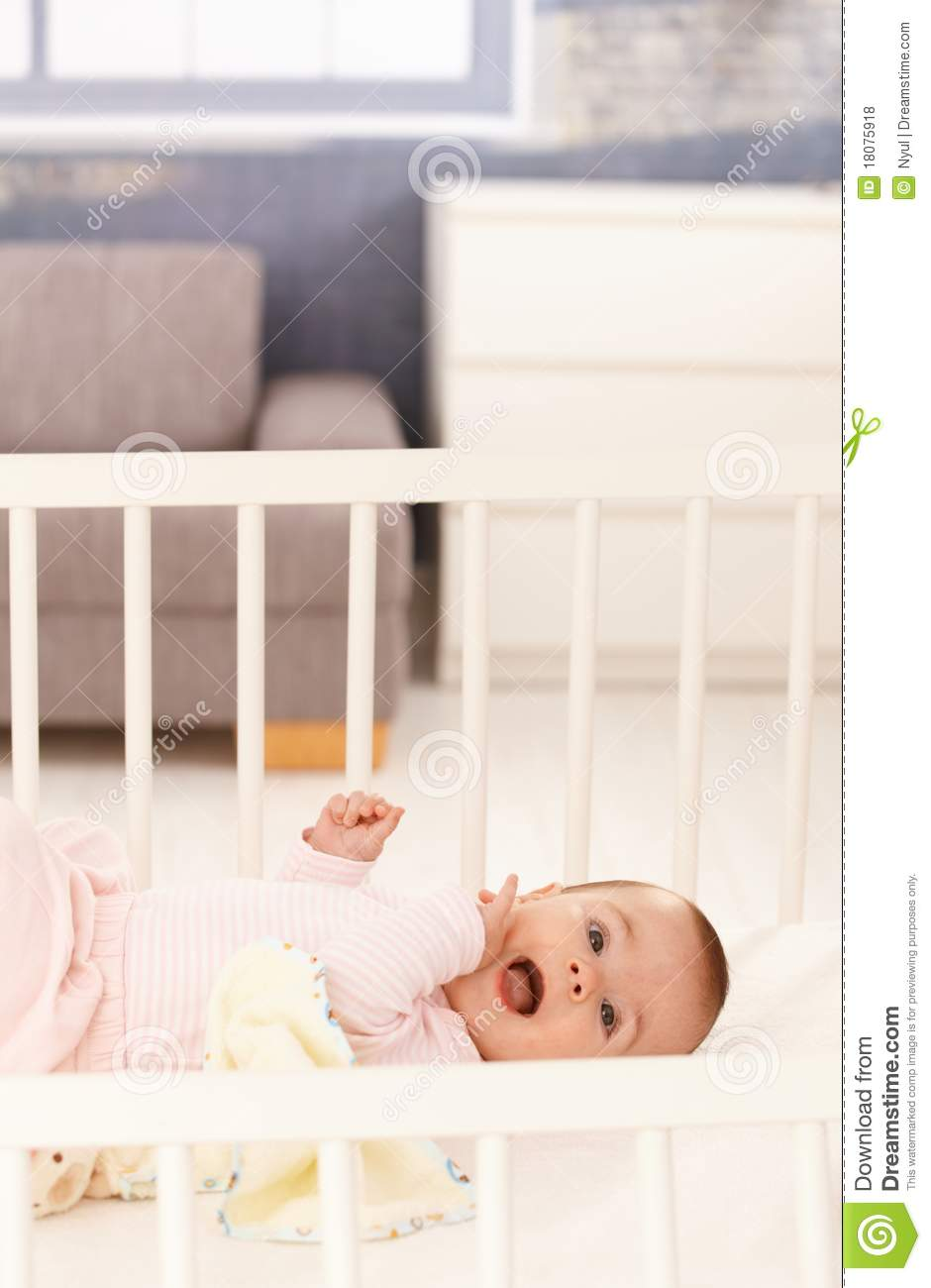 cute baby girl in crib royalty free stock photos image 18075918