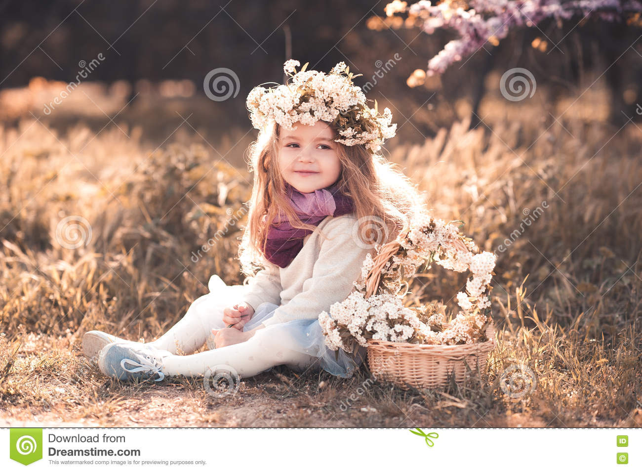 cute baby girl with flowers outdoors stock image - image of girl