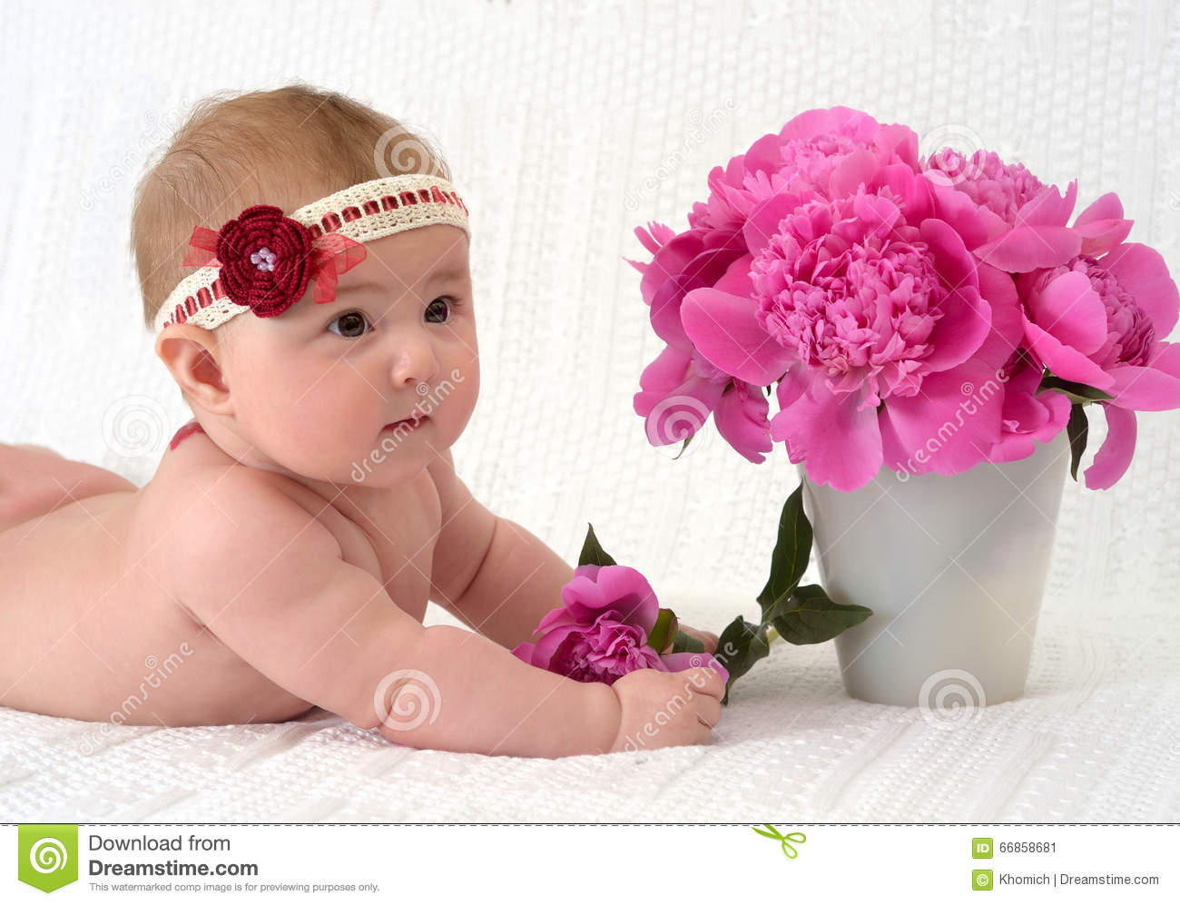 cute baby girl with flowers stock image - image of adorable, little