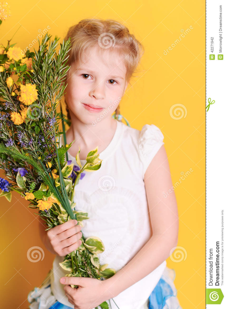 cute baby girl with meadow flowers stock photo - image of children