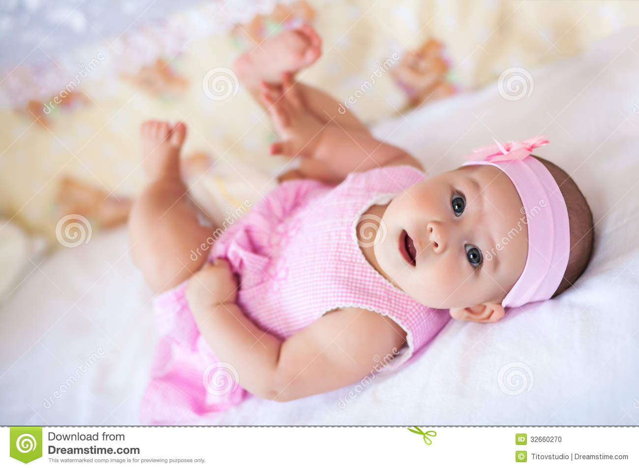 Cute Baby Girl In A Pink Dress Stock Photo - Image: 32660270