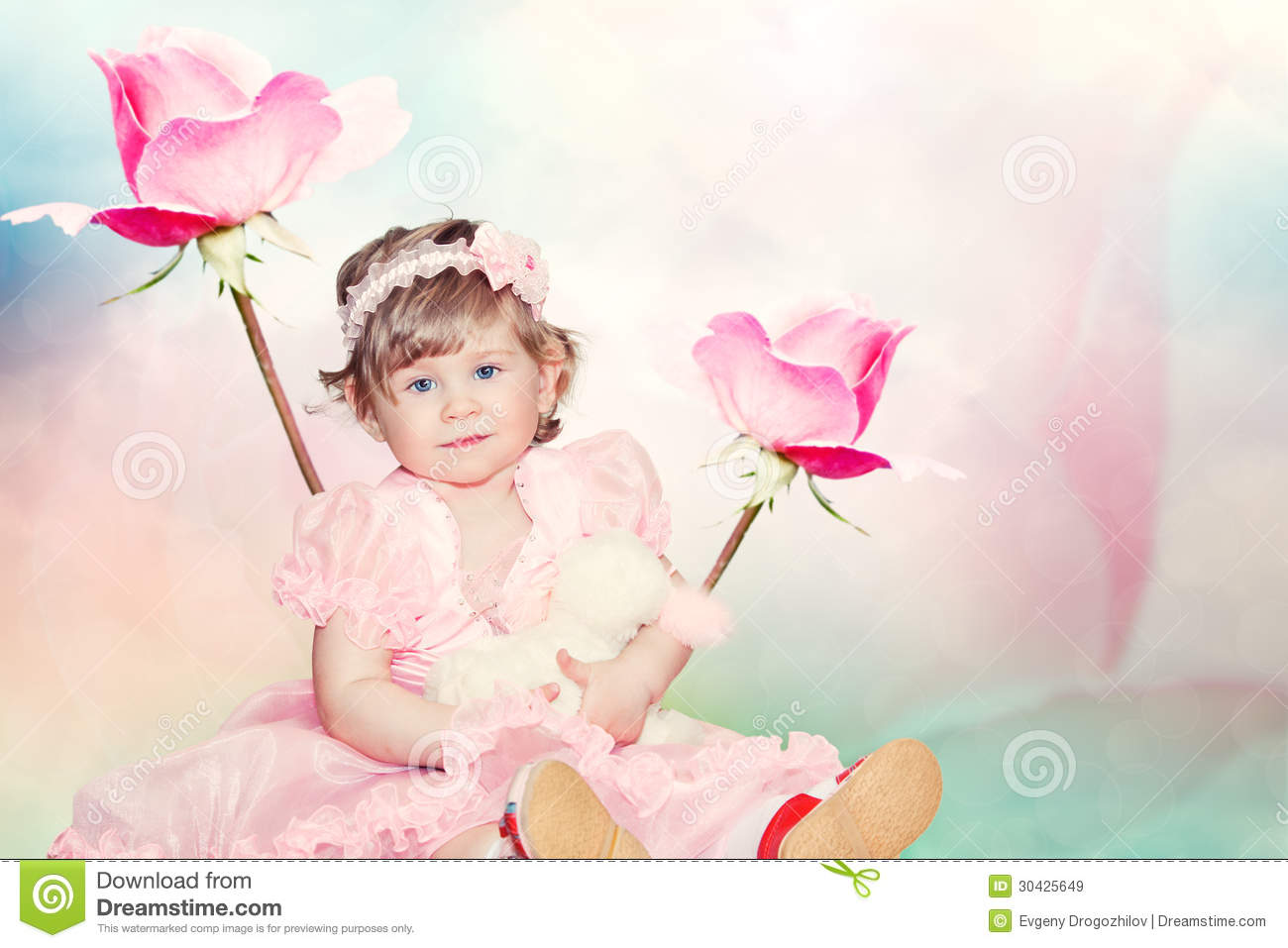Cute Baby Girl On Pink Roses Background Royalty Free Stock ...