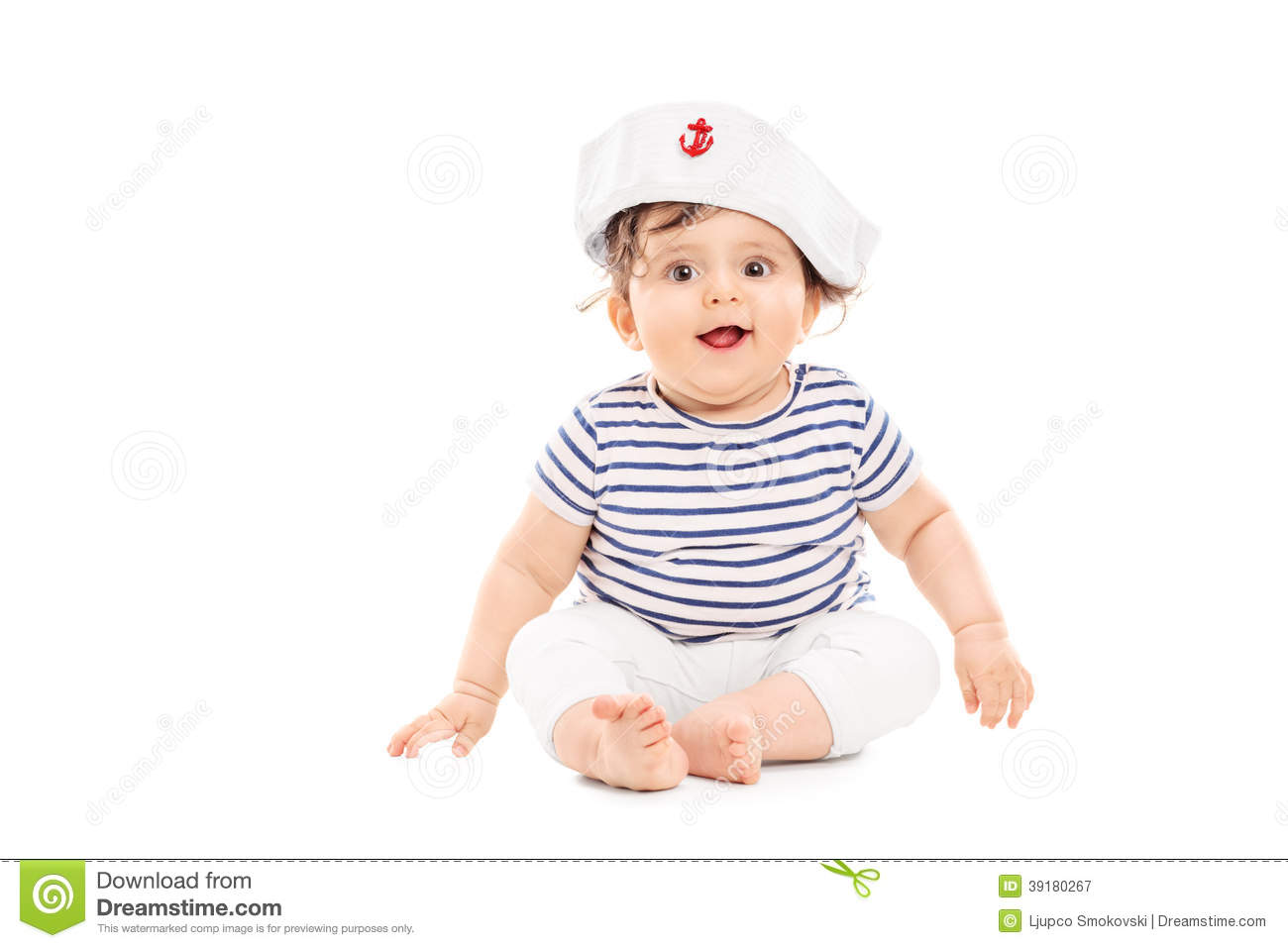 465c8ec2f Cute Baby Girl With Sailor Hat Stock Image - Image of sailor, happy ...