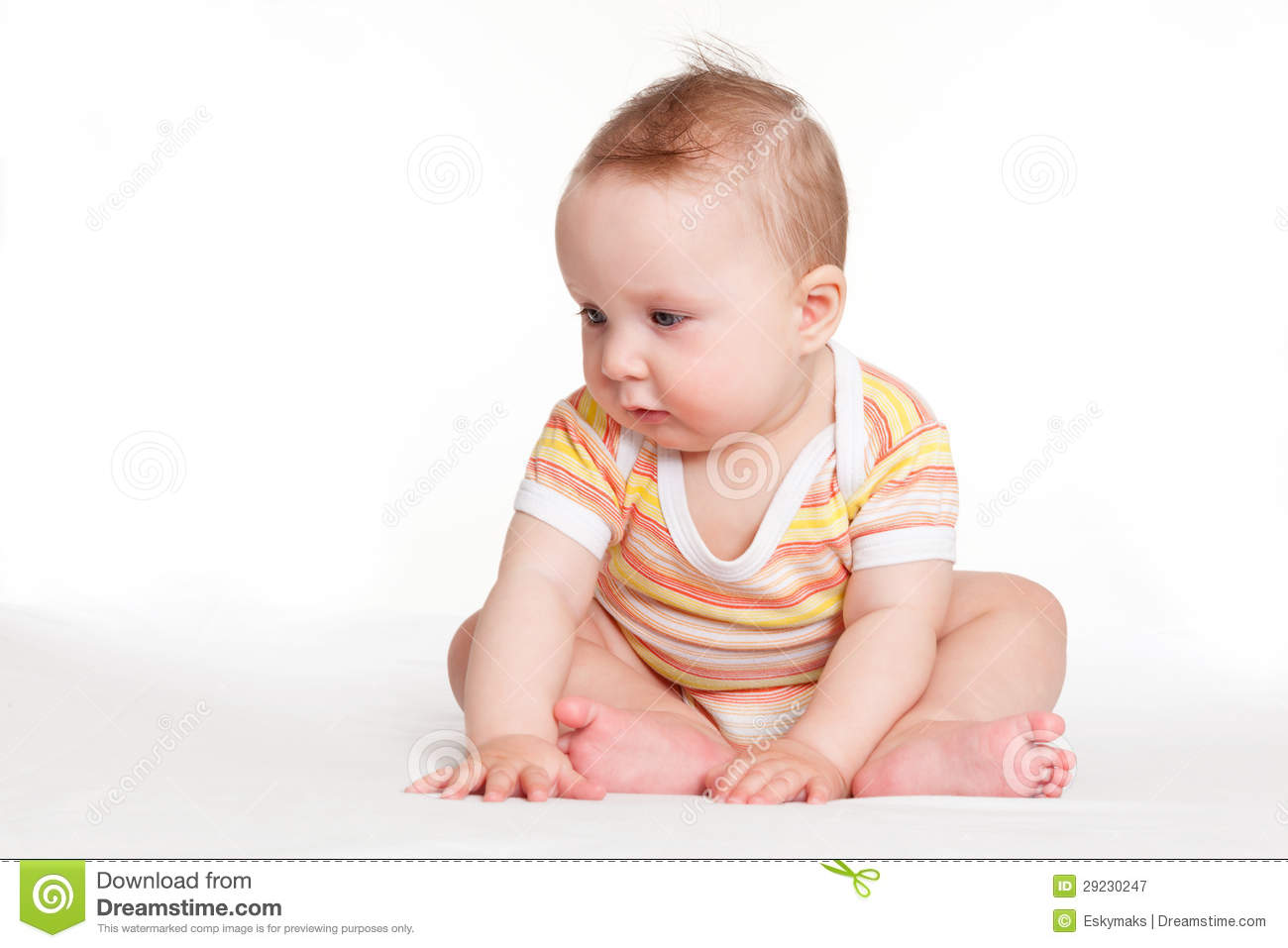 Cute Baby Girl Sitting. Stock Image. Image Of Comfortable