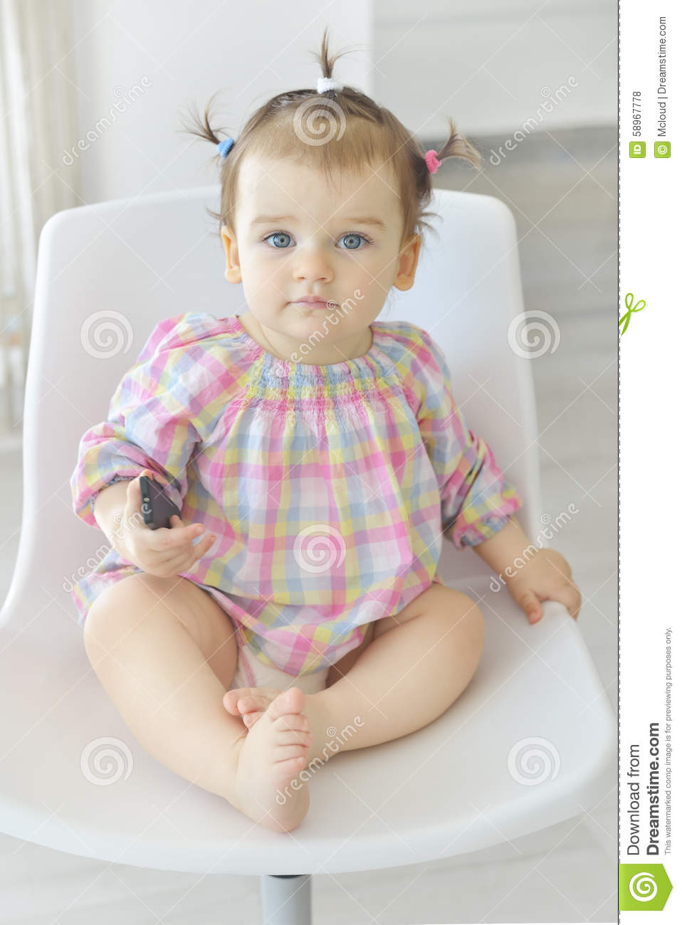 933b37e8d Cute Baby Girl Sitting In A Basket Stock Photo - Image of innocent ...