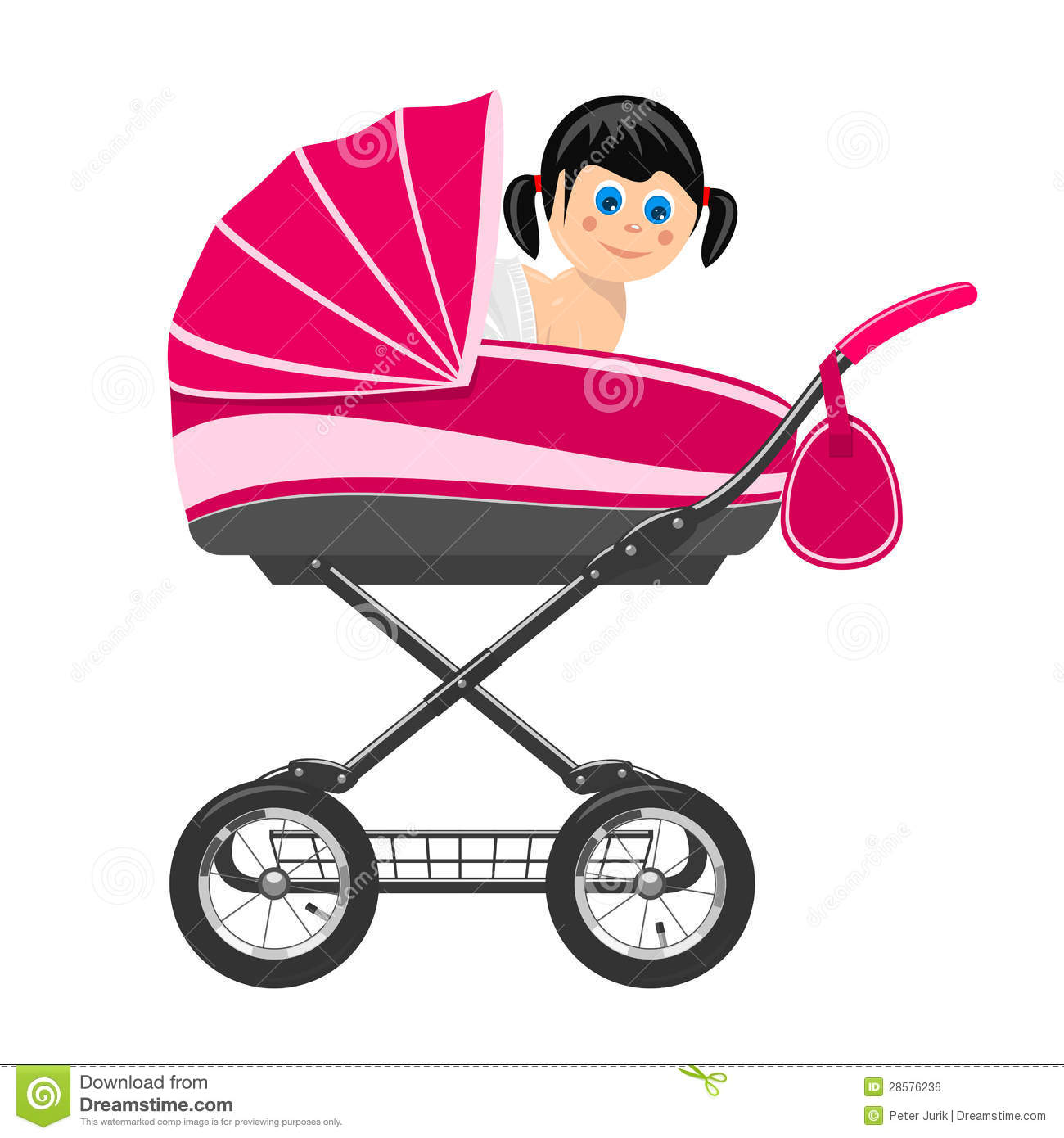 Cute baby girl sitting in stroller stock vector - Poussette dessin ...