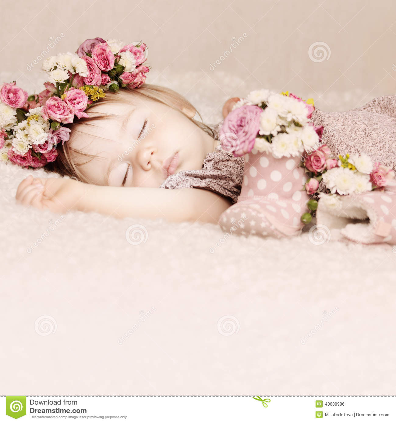 Cute Baby Girl Sleep With Flowers Vintage Stock Photo Image Of